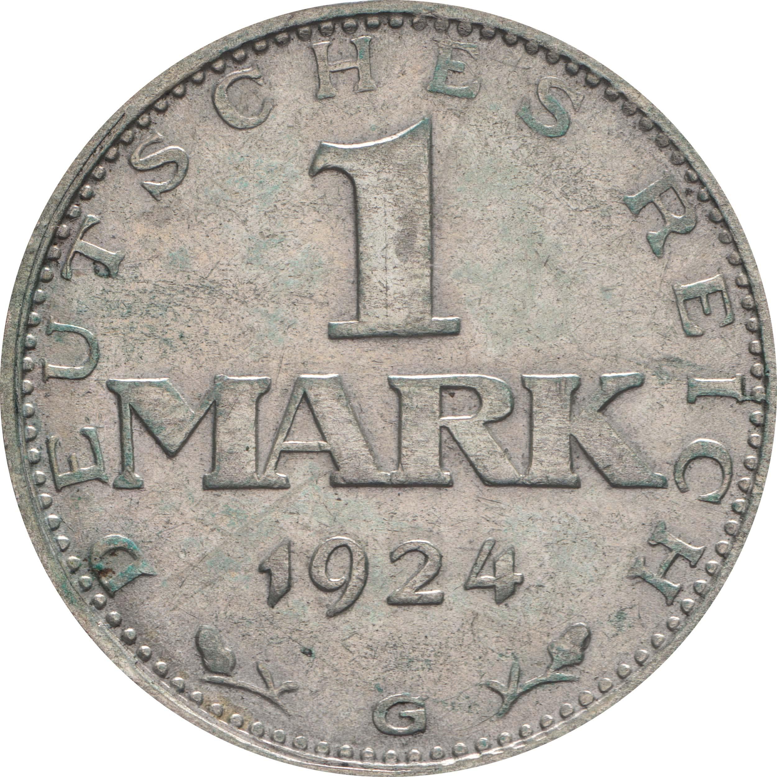 Vorderseite:Deutschland : 1 Mark Kursmünze  1924 ss.