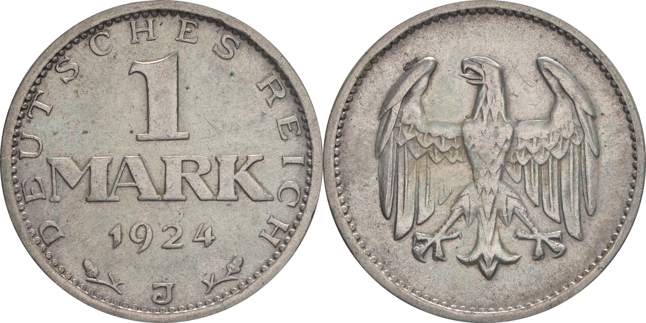 Lieferumfang:Deutschland : 1 Mark Kursmünze  1924 ss/vz.