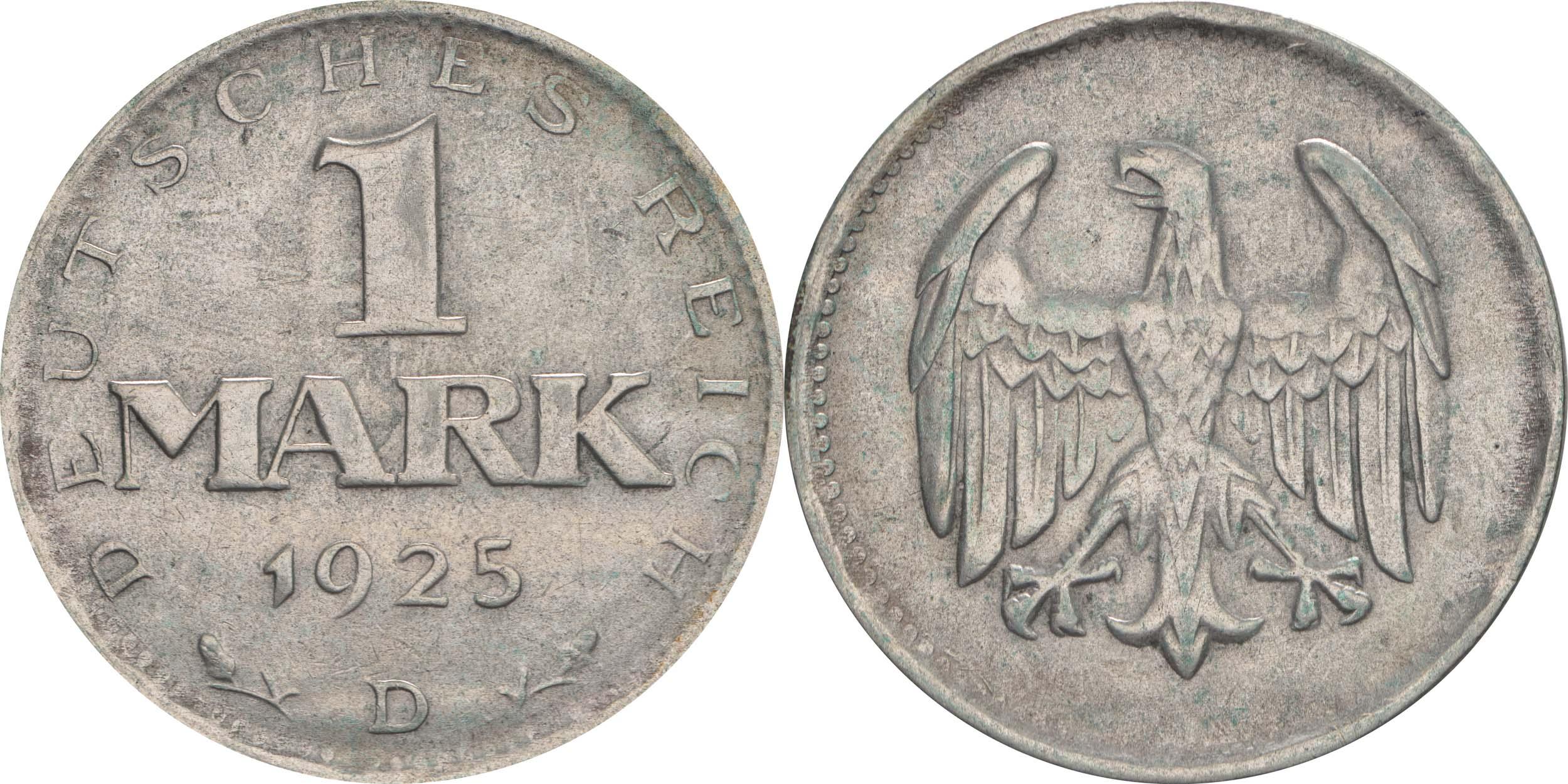 Deutschland : 1 Mark Kursmünze  1925 ss.