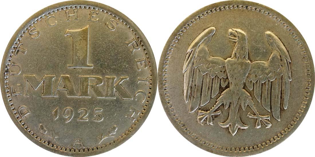 Deutschland : 1 Mark Kursmünze  1925 f.ss