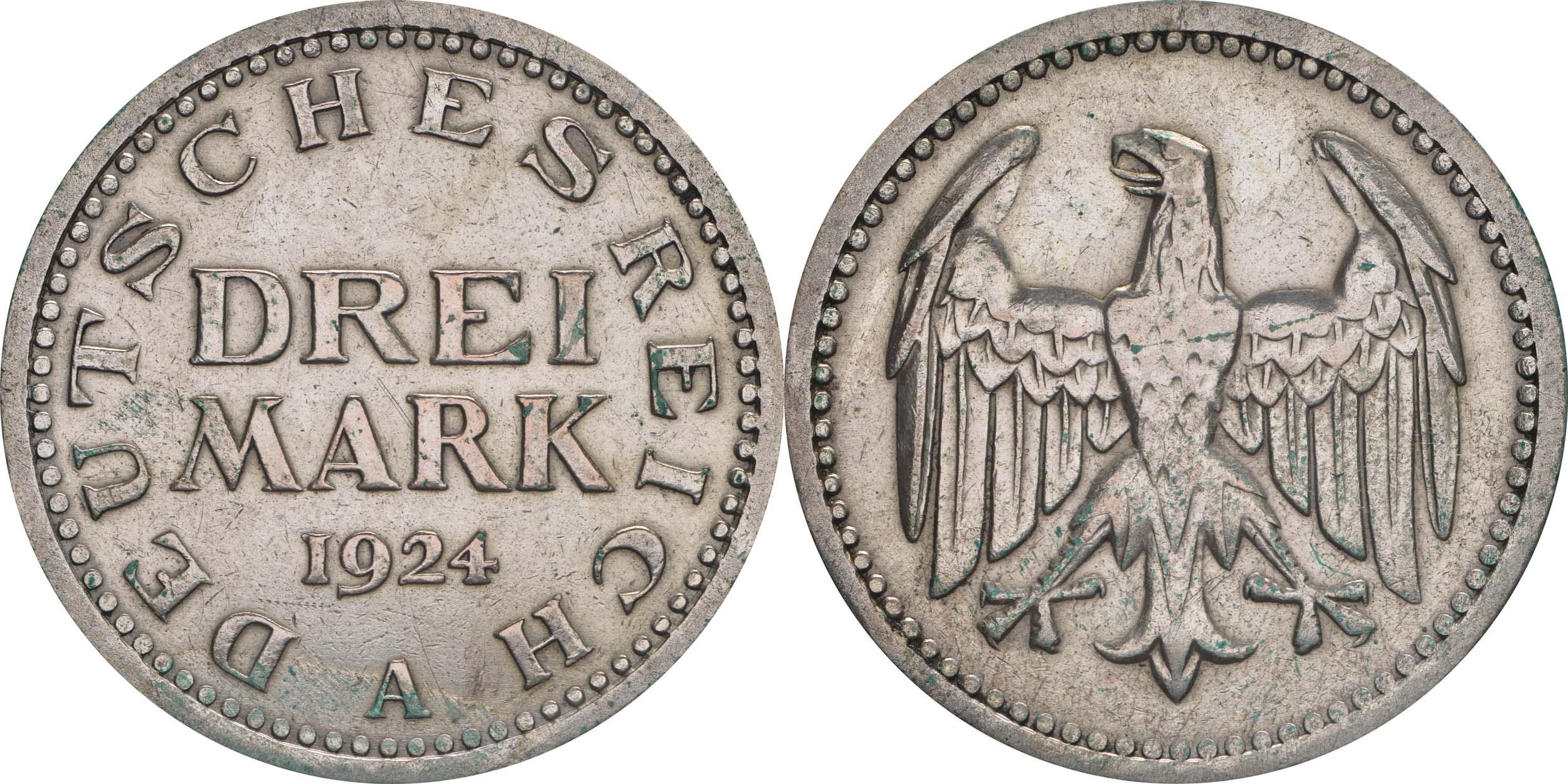 Lieferumfang:Deutschland : 3 Mark Kursmünze  1924 ss.