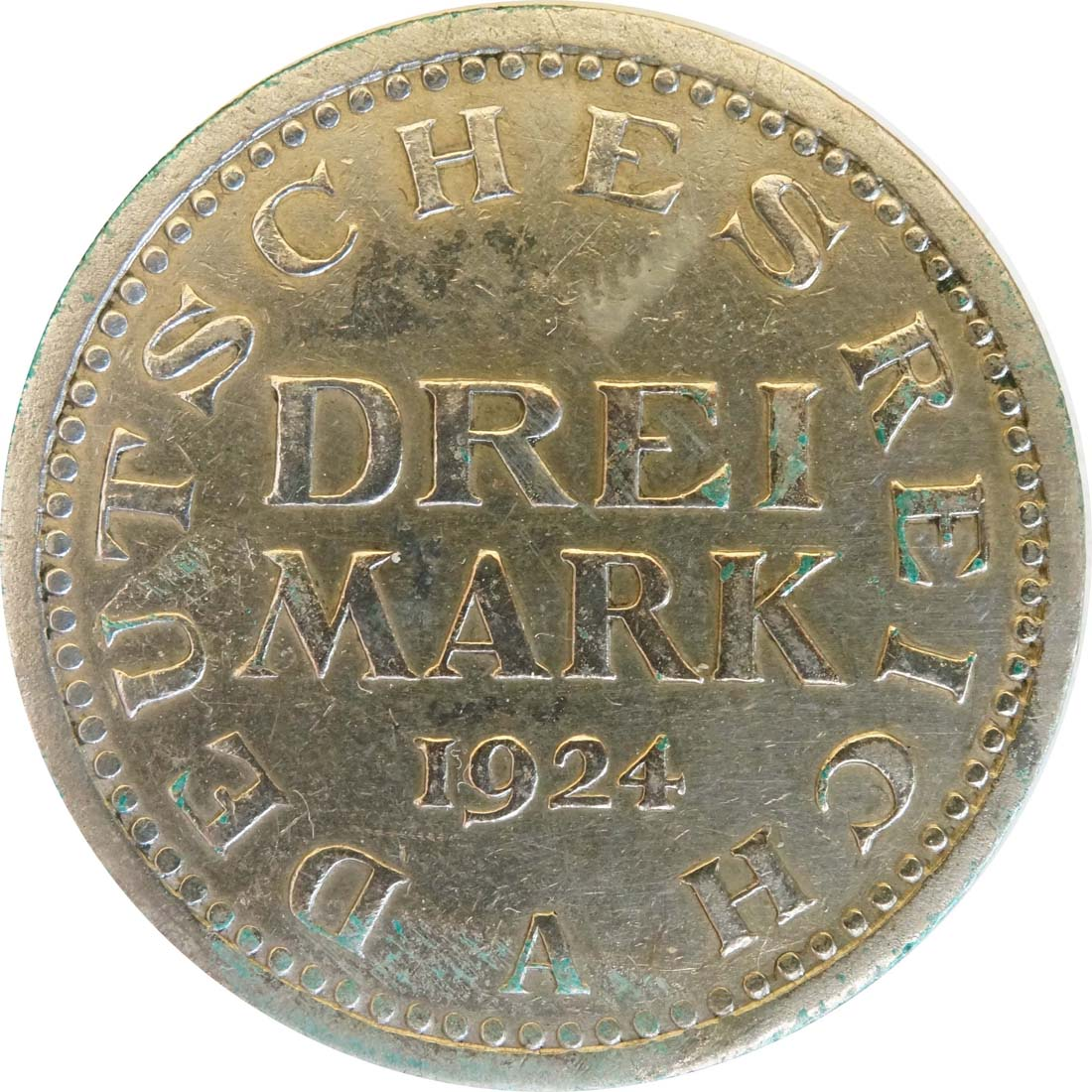 Vorderseite:Deutschland : 3 Mark Kursmünze  1924 ss.