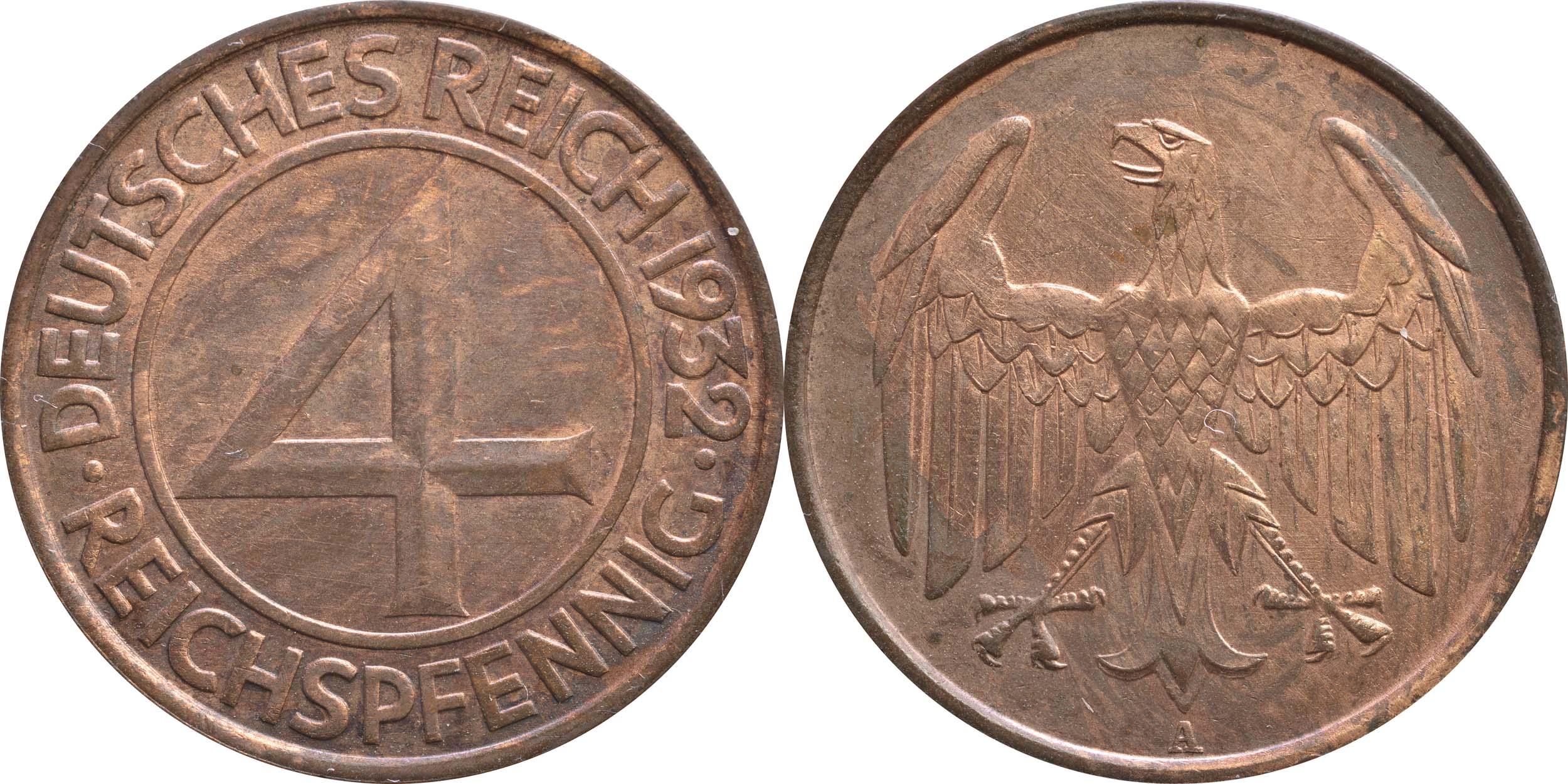 Übersicht:Deutschland : 4 Reichspfennig Kursmünze  1932 ss.