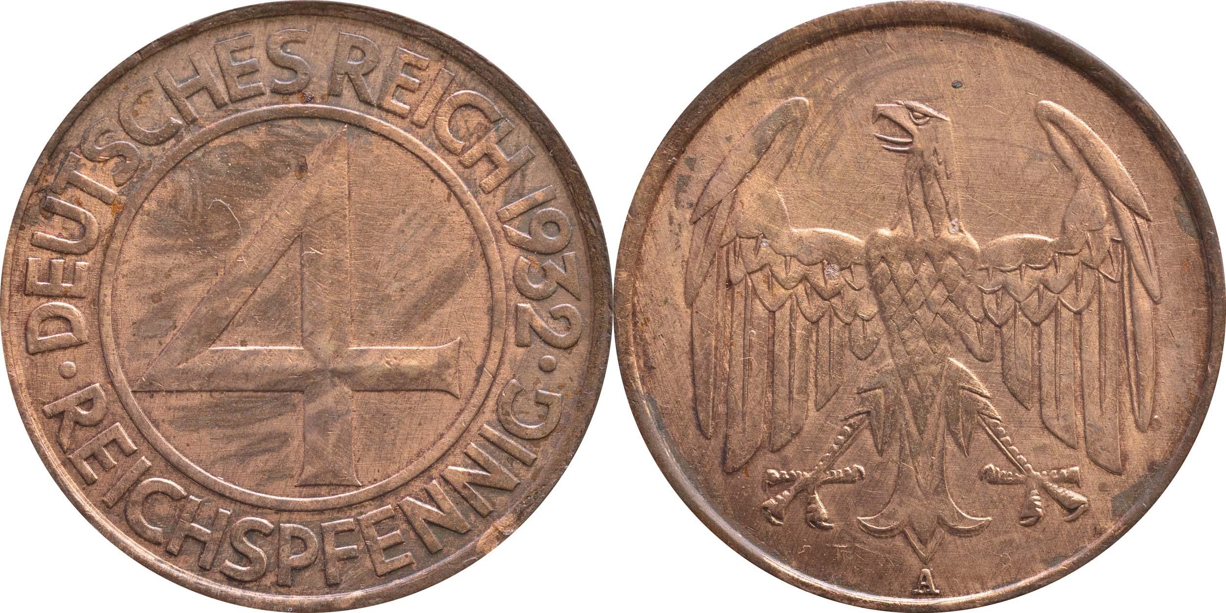 Lieferumfang:Deutschland : 4 Reichspfennig Kursmünze  1932 ss.