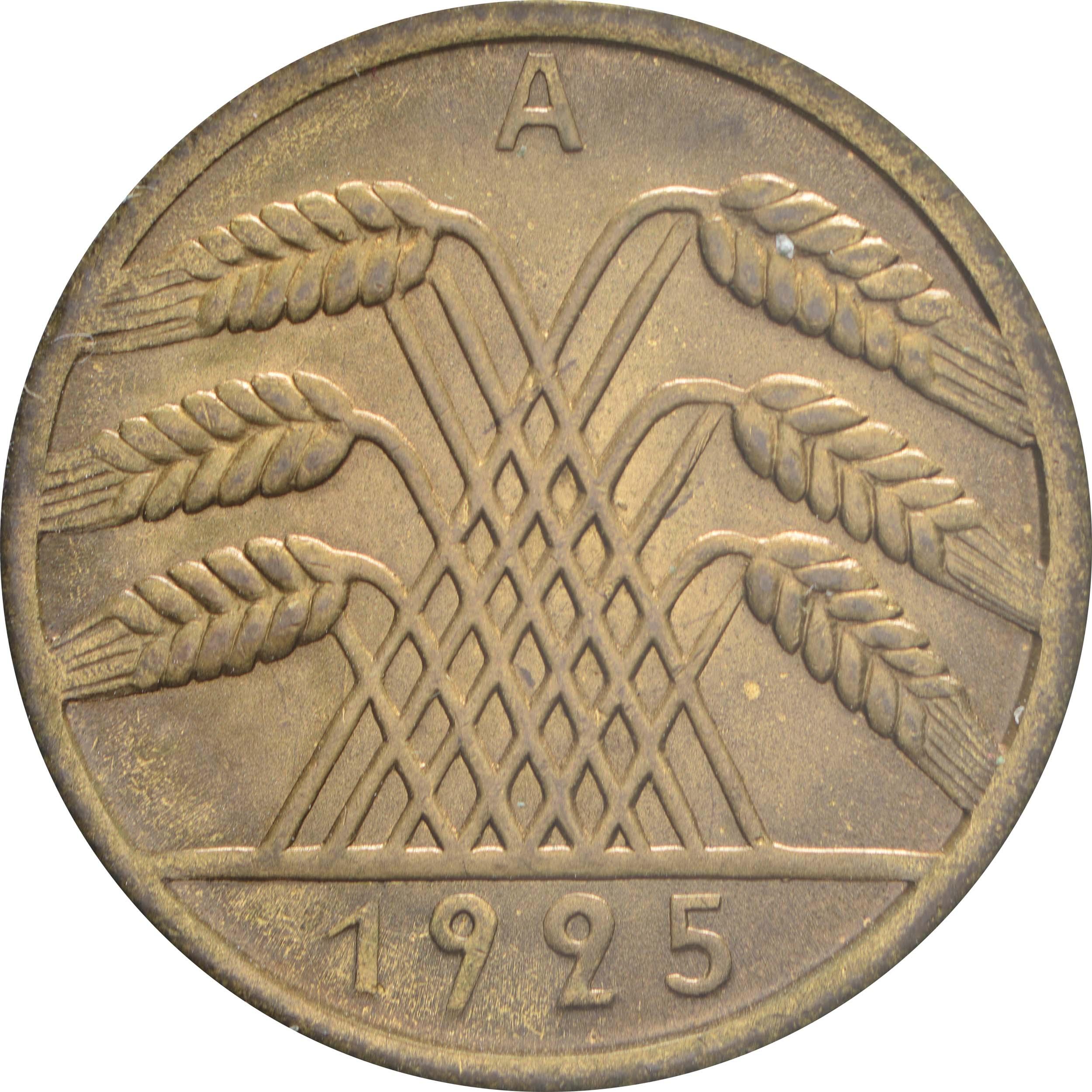 Rückseite:Deutschland : 10 Reichspfennig Kursmünze  1925 Stgl.