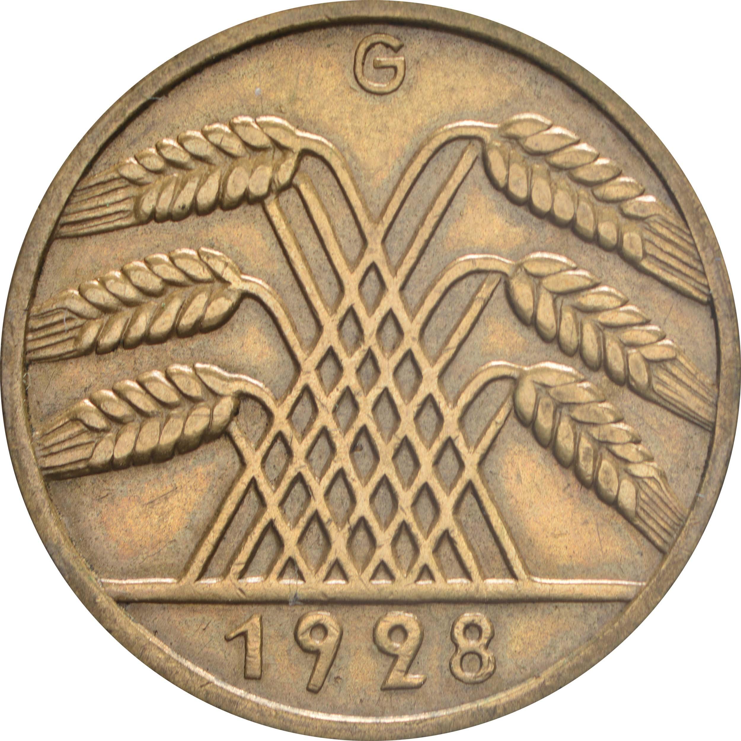 Rückseite :Deutschland : 10 Reichspfennig Kursmünze  1928 vz.