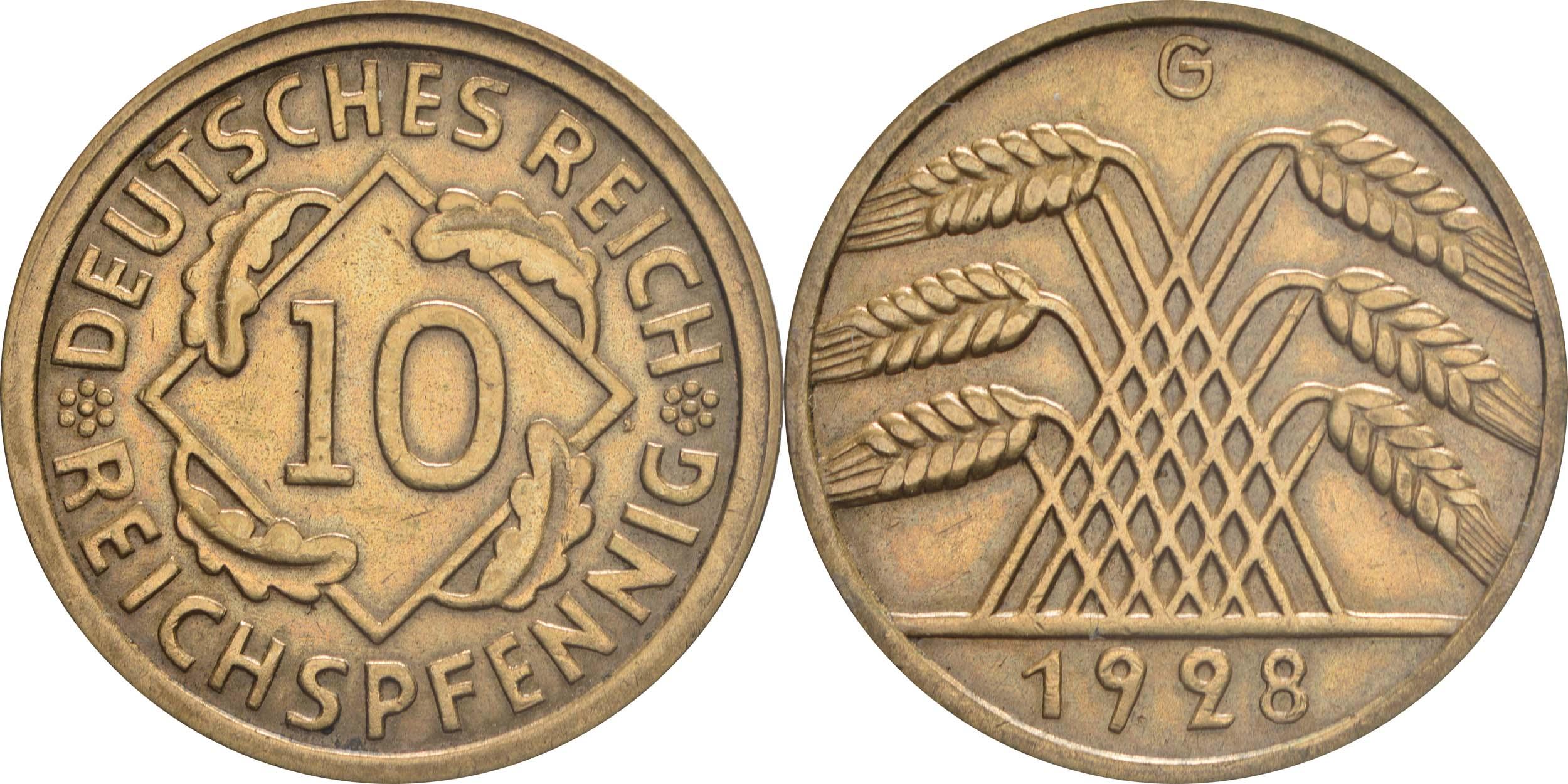 Deutschland : 10 Reichspfennig Kursmünze  1928 vz.