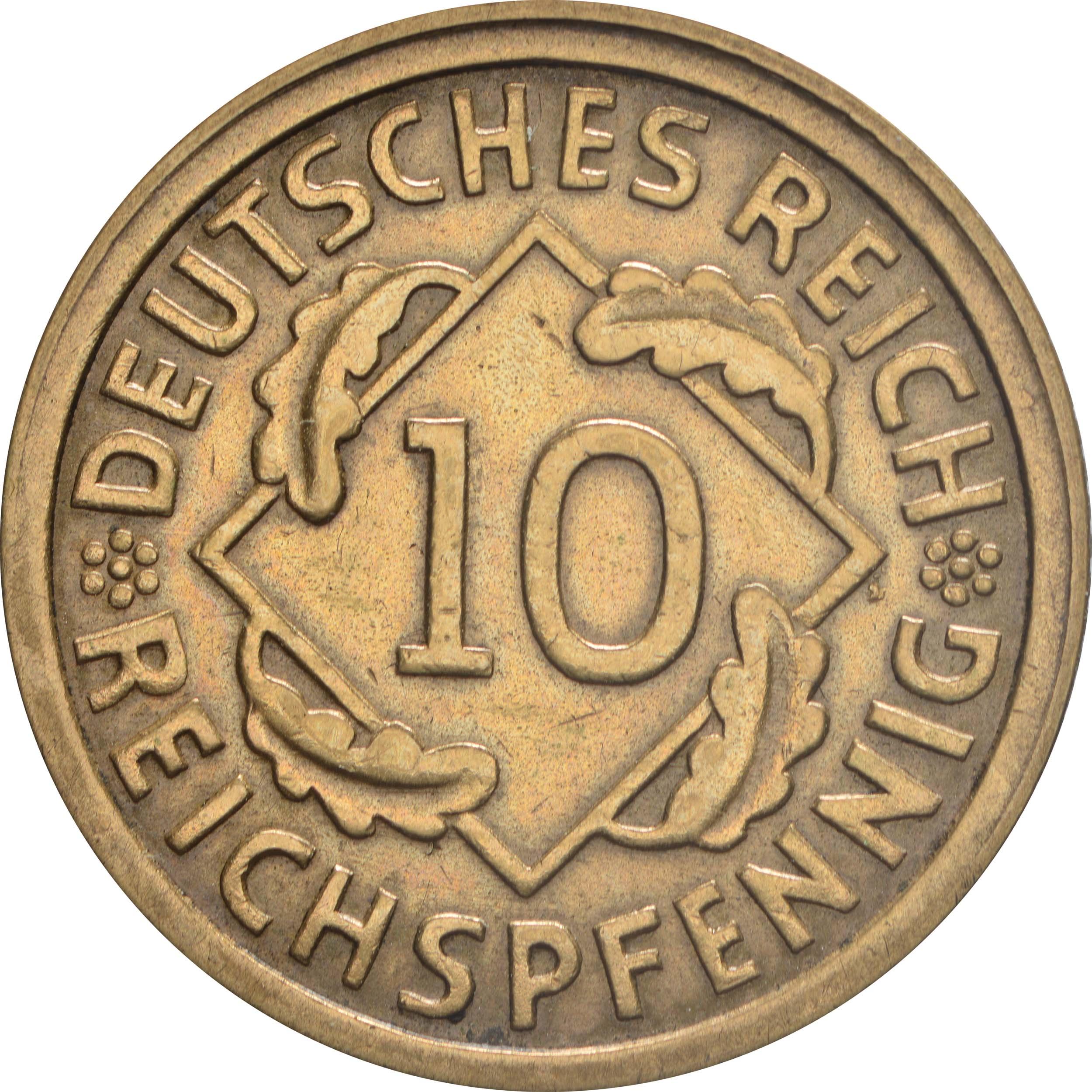 Vorderseite:Deutschland : 10 Reichspfennig Kursmünze  1928 vz.