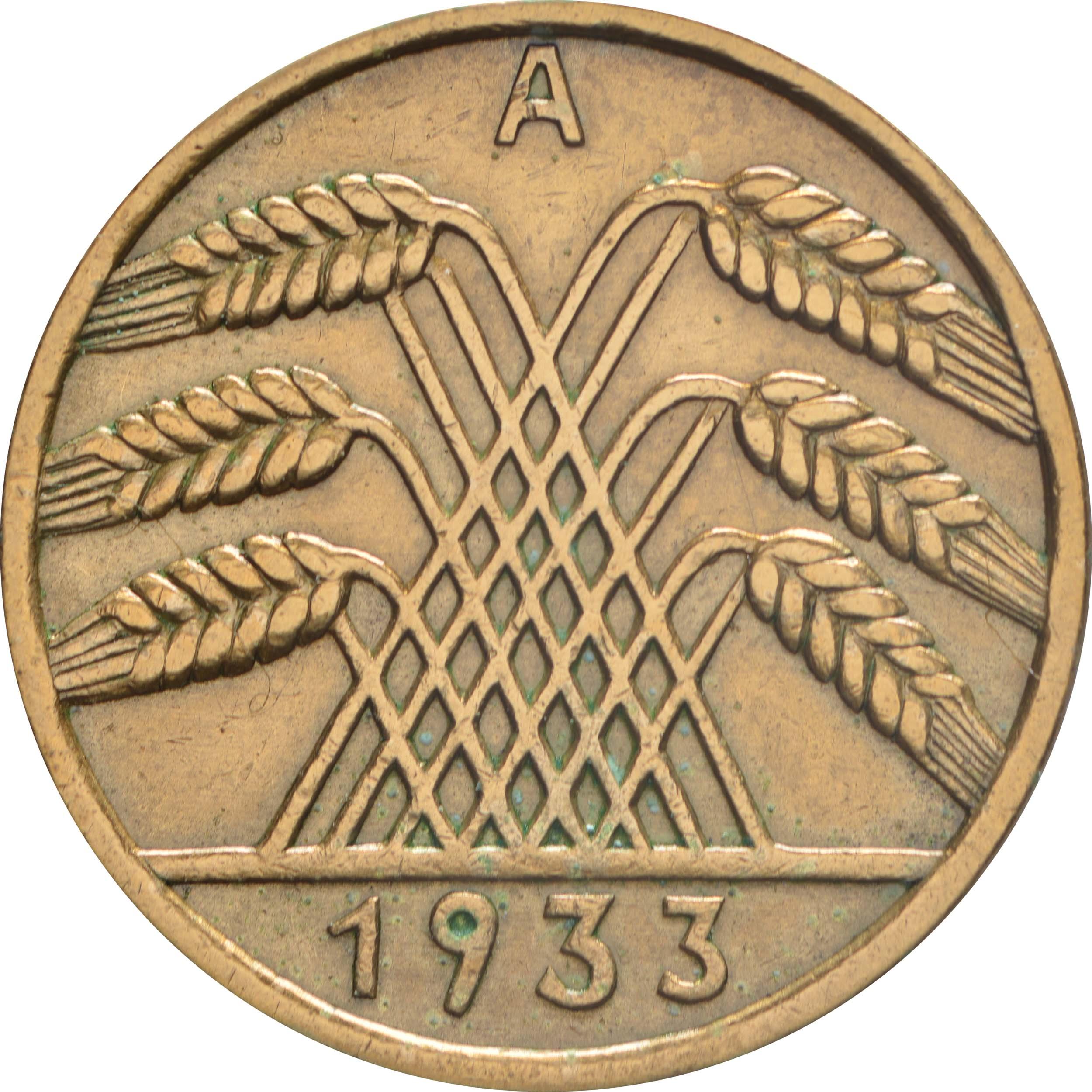 Rückseite:Deutschland : 10 Reichspfennif Kursmünze  1933 vz.