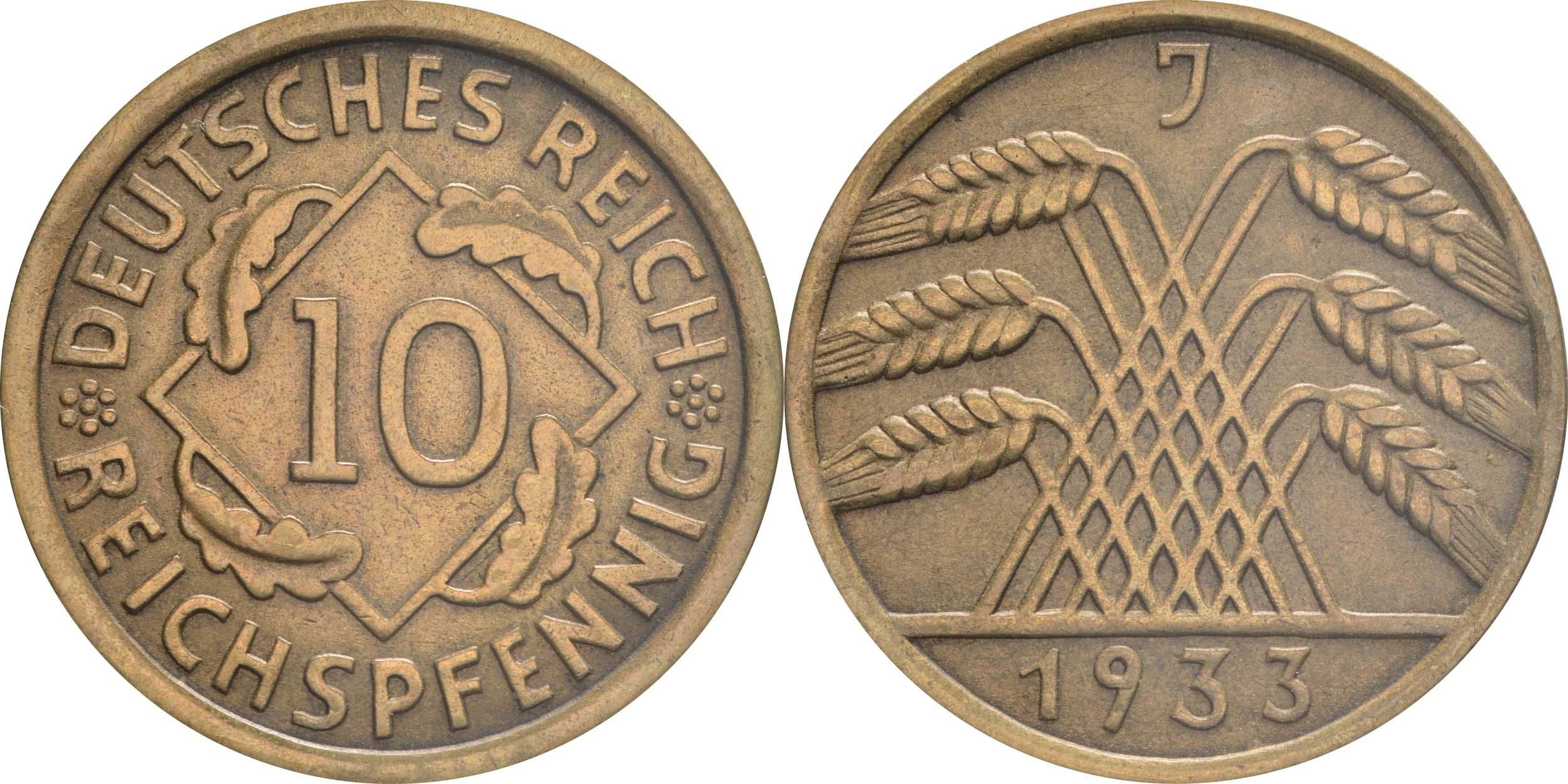 Deutschland : 10 Reichspfennig Kursmünze  1933 vz.