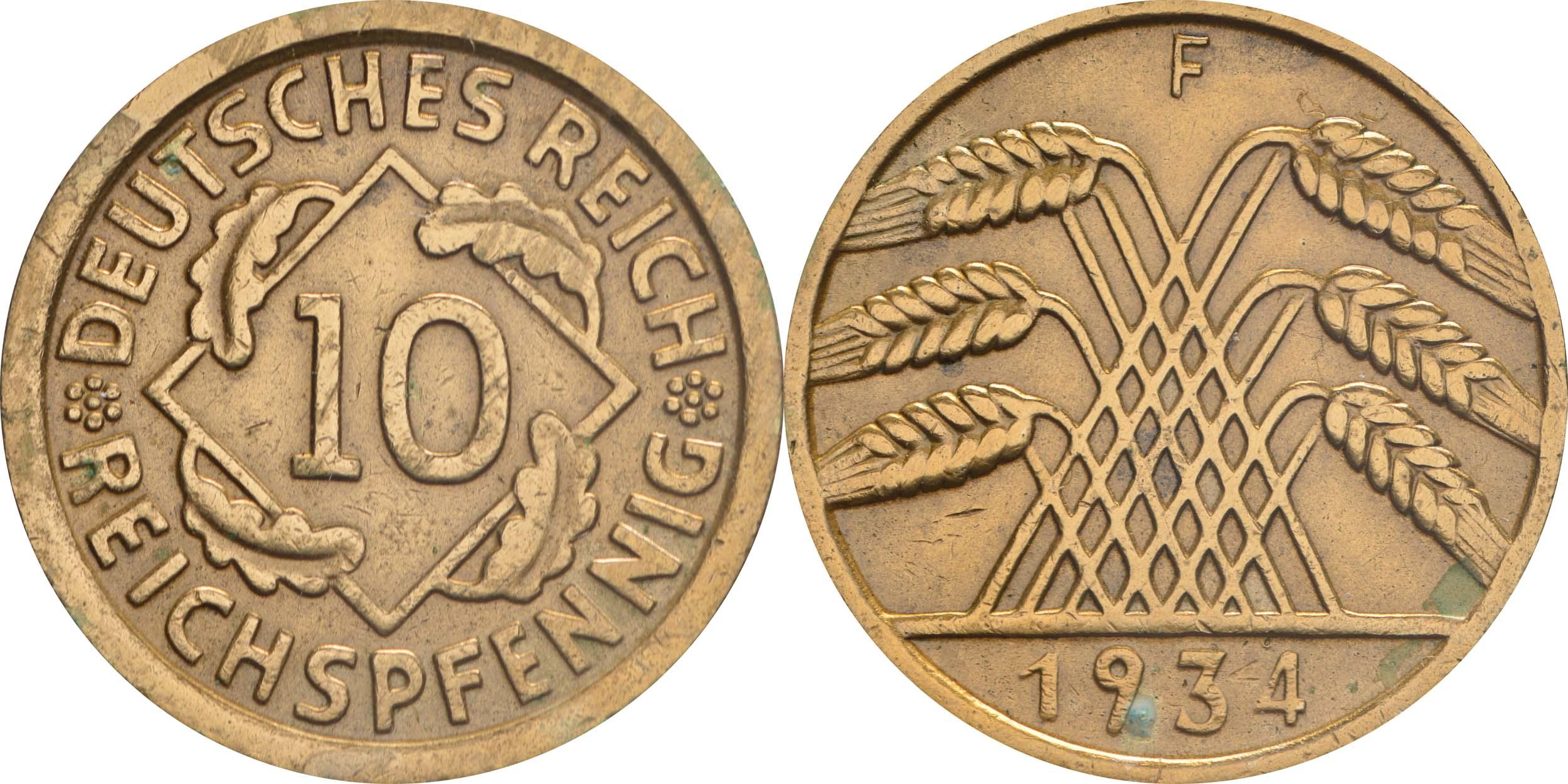 Lieferumfang:Deutschland : 10 Reichspfennig Kursmünze zaponiert 1934 ss.