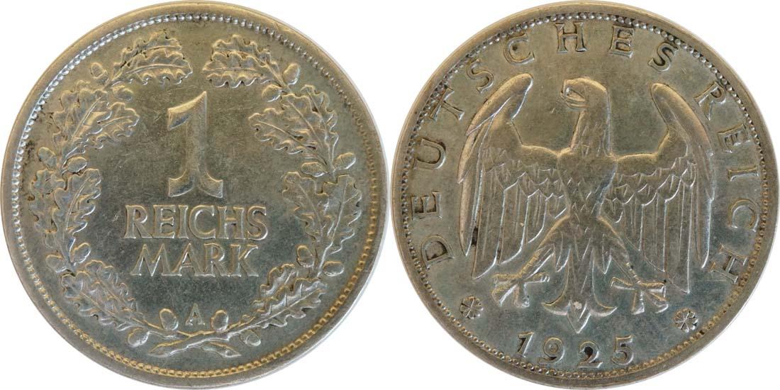 Deutschland : 1 Reichsmark Kursmünze  1925 ss/vz.