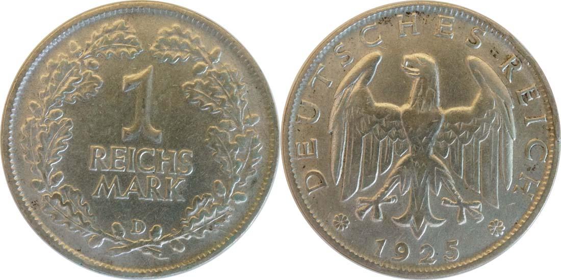 Deutschland : 1 Reichsmark Kursmünze  1925 vz.