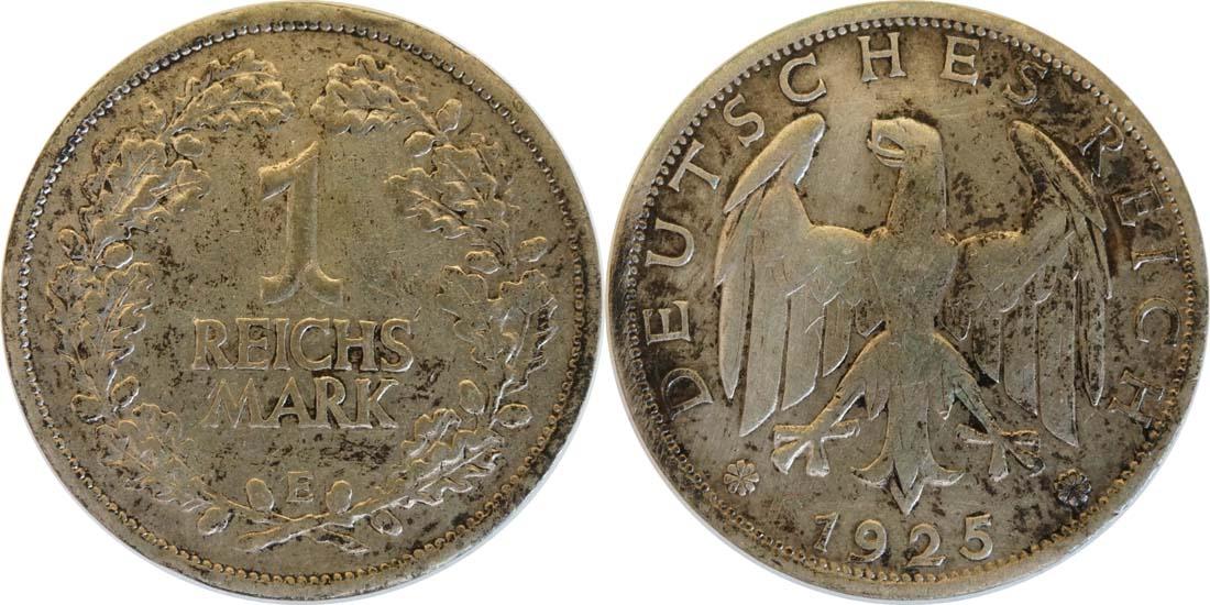 Lieferumfang:Deutschland : 1 Reichsmark Kursmünze  1925 ss.