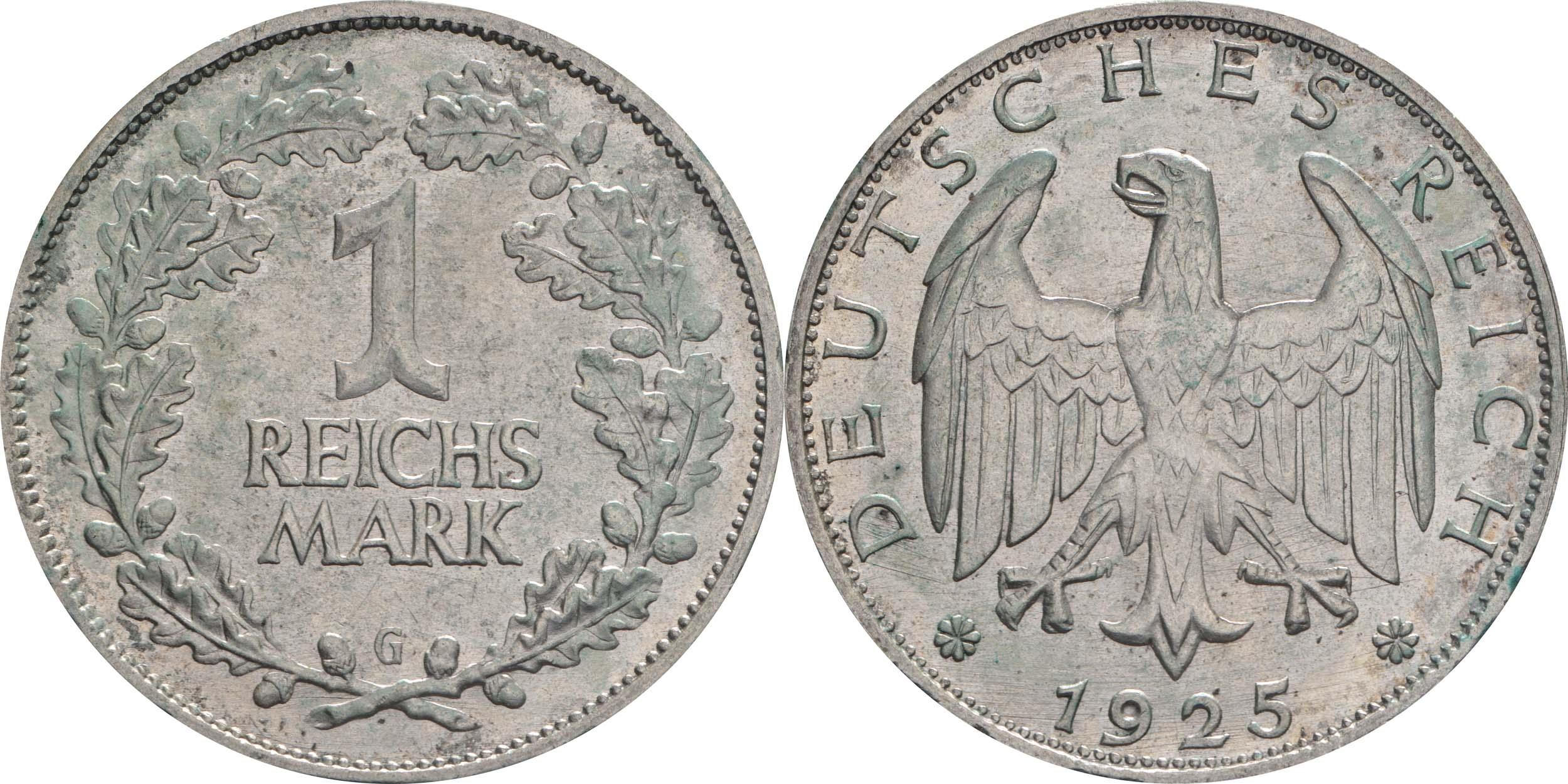 Übersicht:Deutschland : 1 Reichsmark Kursmünze  1925 vz.