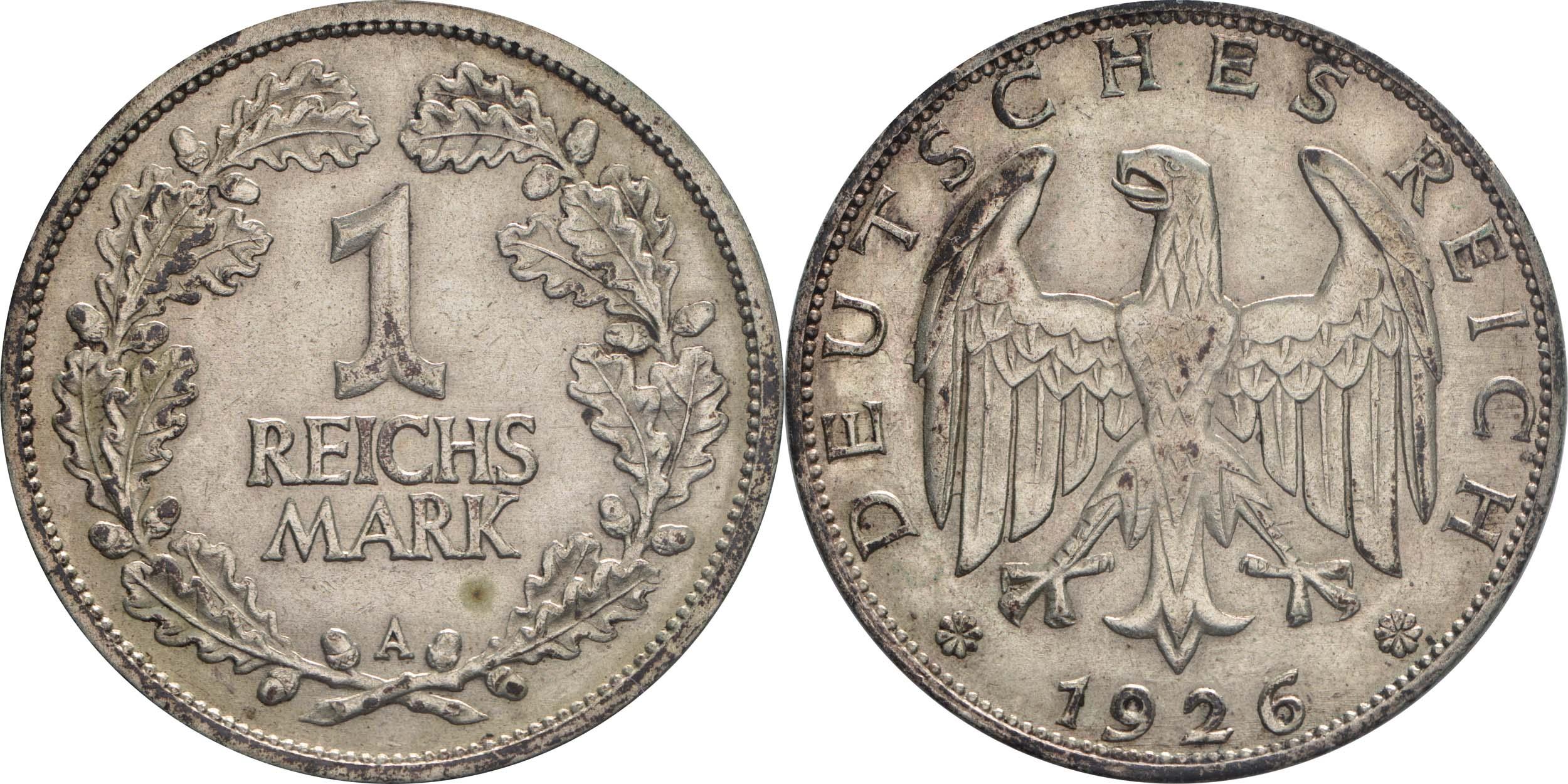 Lieferumfang:Deutschland : 1 Reichsmark Kursmünze  1926 ss.