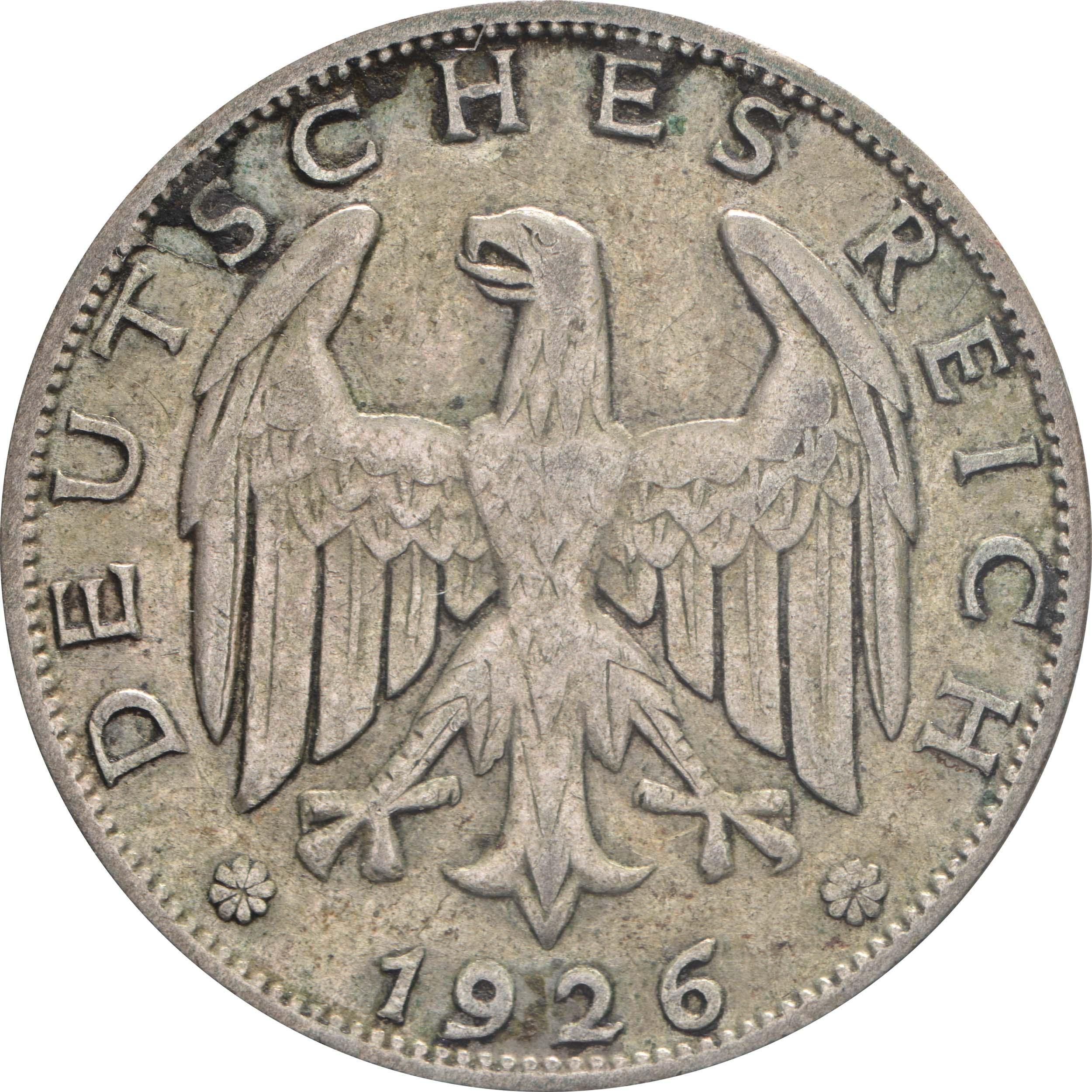 Rückseite:Deutschland : 1 Reichsmark Kursmünze  1926 ss.