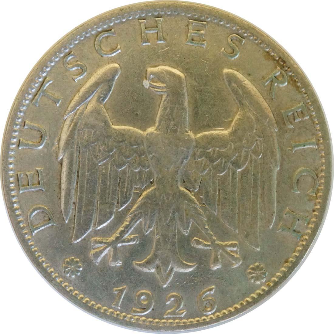 Rückseite:Deutschland : 1 Reichsmark Kursmünze  1926 ss/vz.