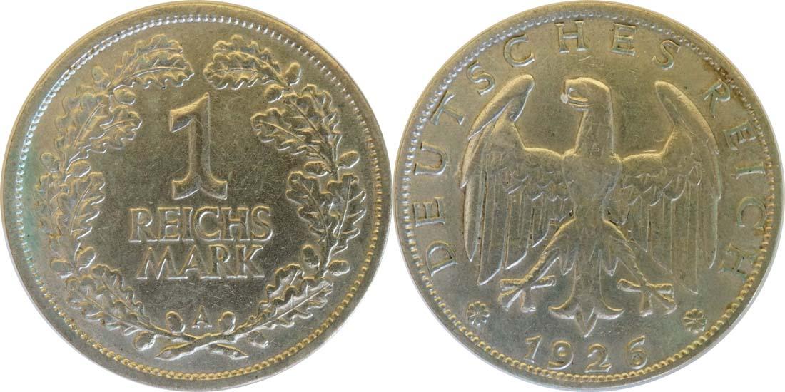 Übersicht:Deutschland : 1 Reichsmark Kursmünze  1926 ss/vz.