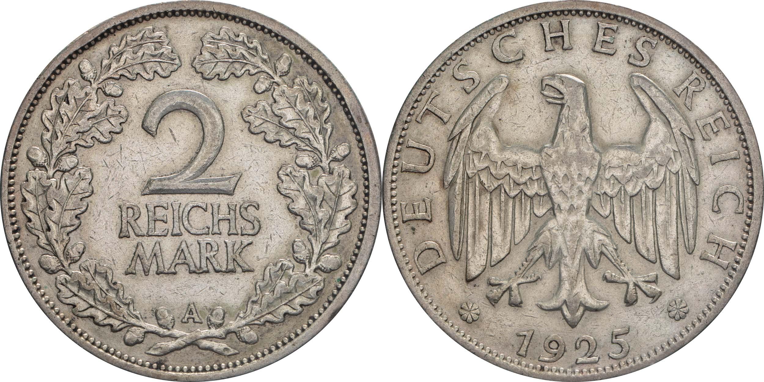 Lieferumfang:Deutschland : 2 Reichsmark Kursmünze  1925 ss.