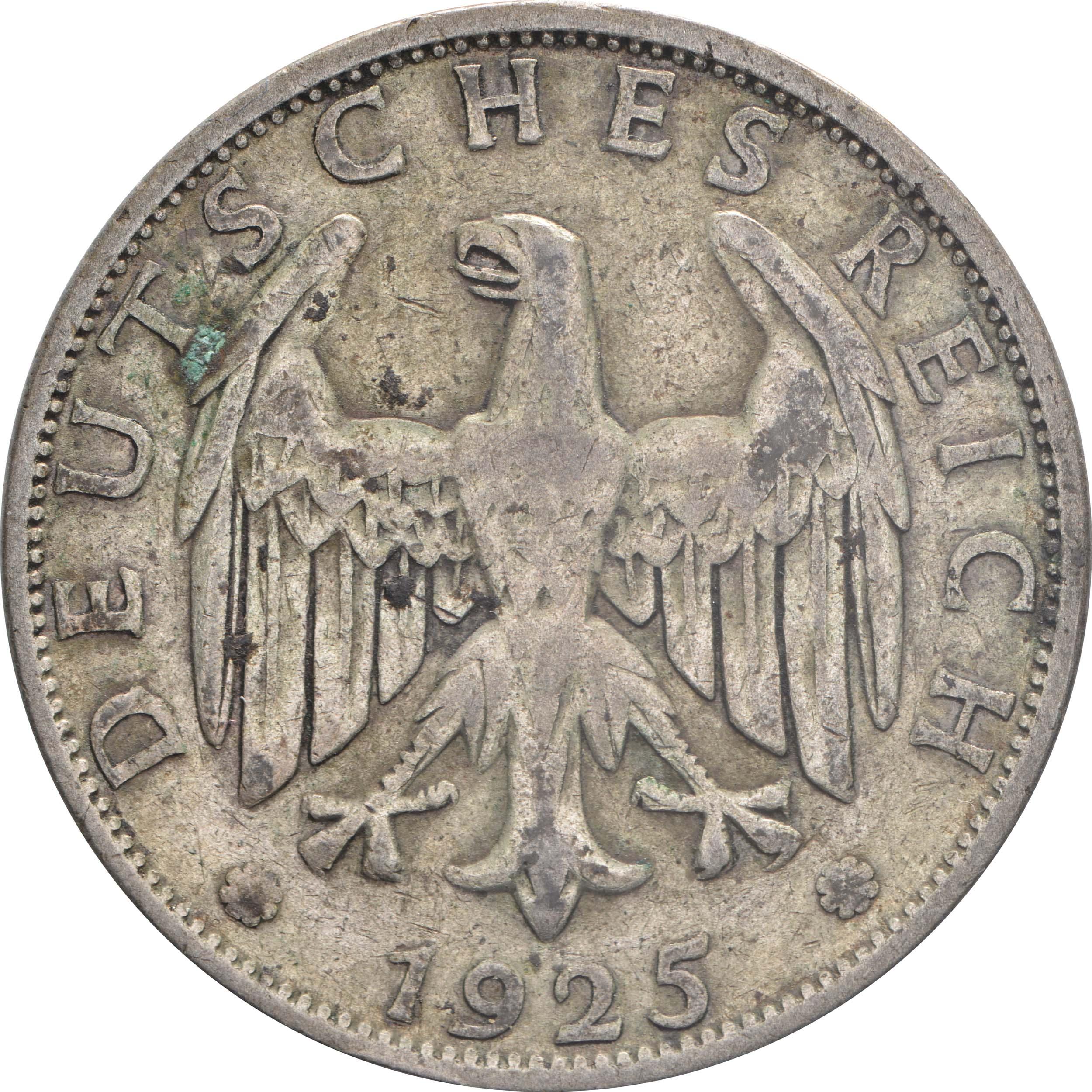 Rückseite:Deutschland : 2 Reichsmark Kursmünze  1925 ss.