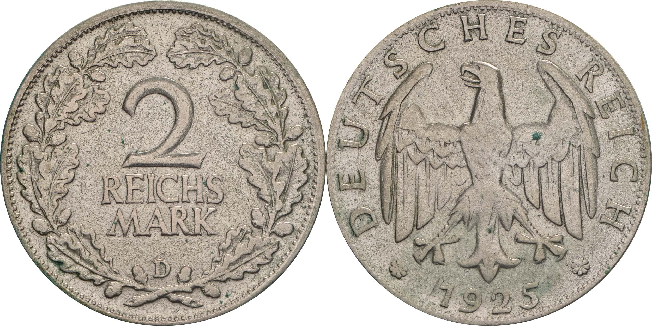 Lieferumfang:Deutschland : 2 Reichsmark Kursmünze  1925 ss/vz.