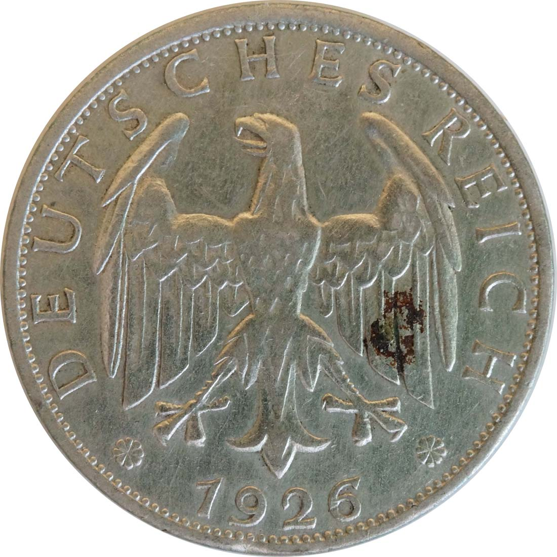 Rückseite:Deutschland : 2 Reichsmark Kursmünze - Riß  1925 ss.