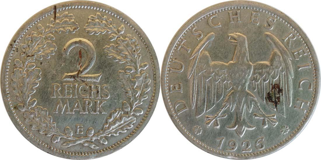 Deutschland : 2 Reichsmark Kursmünze - Riß  1925 ss.