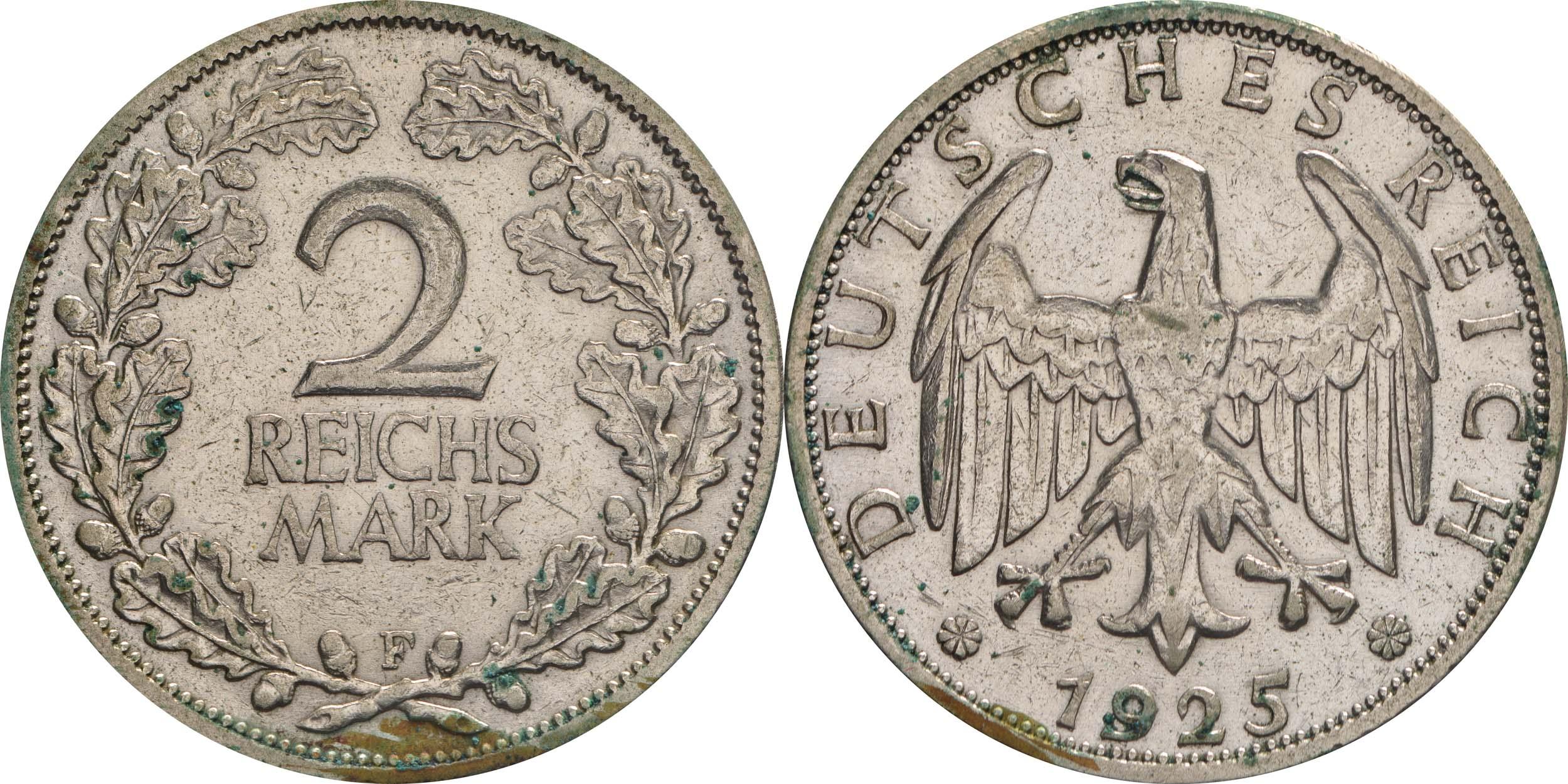 Übersicht:Deutschland : 2 Reichsmark Kursmünze  1925 ss.