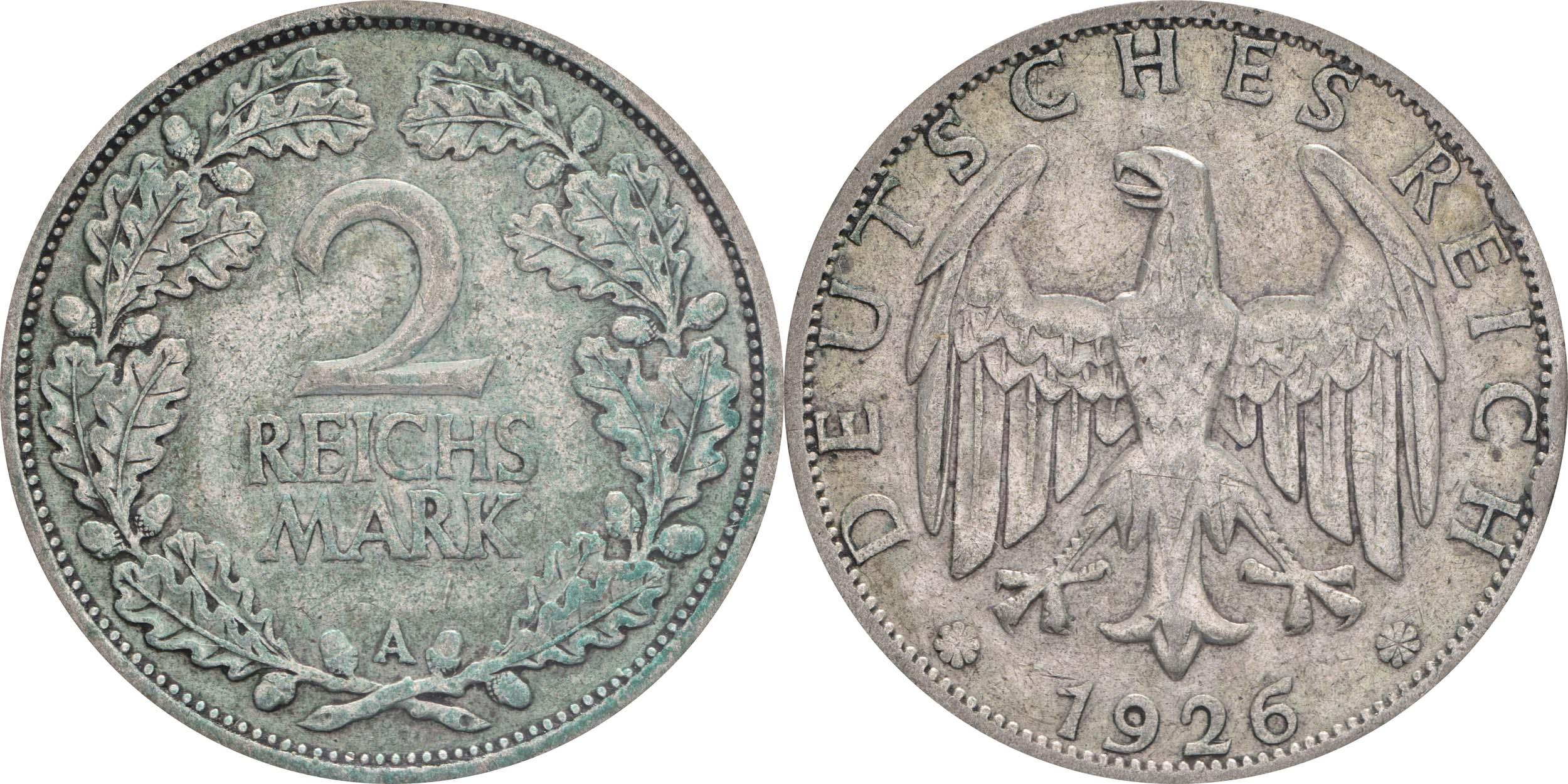 Deutschland : 2 Reichsmark Kursmünze patina 1926 ss.