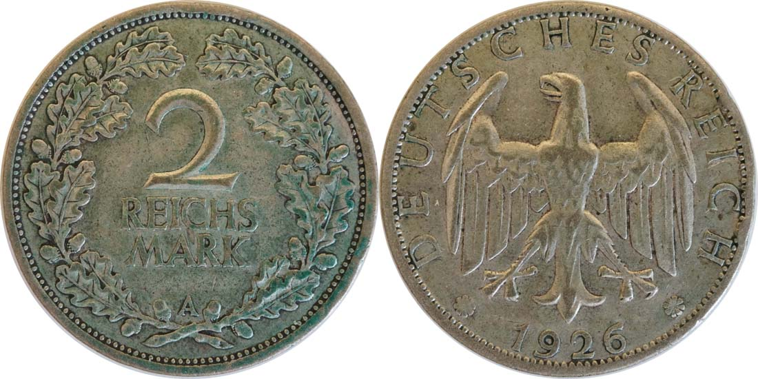 Lieferumfang:Deutschland : 2 Reichsmark Kursmünze patina 1926 ss.