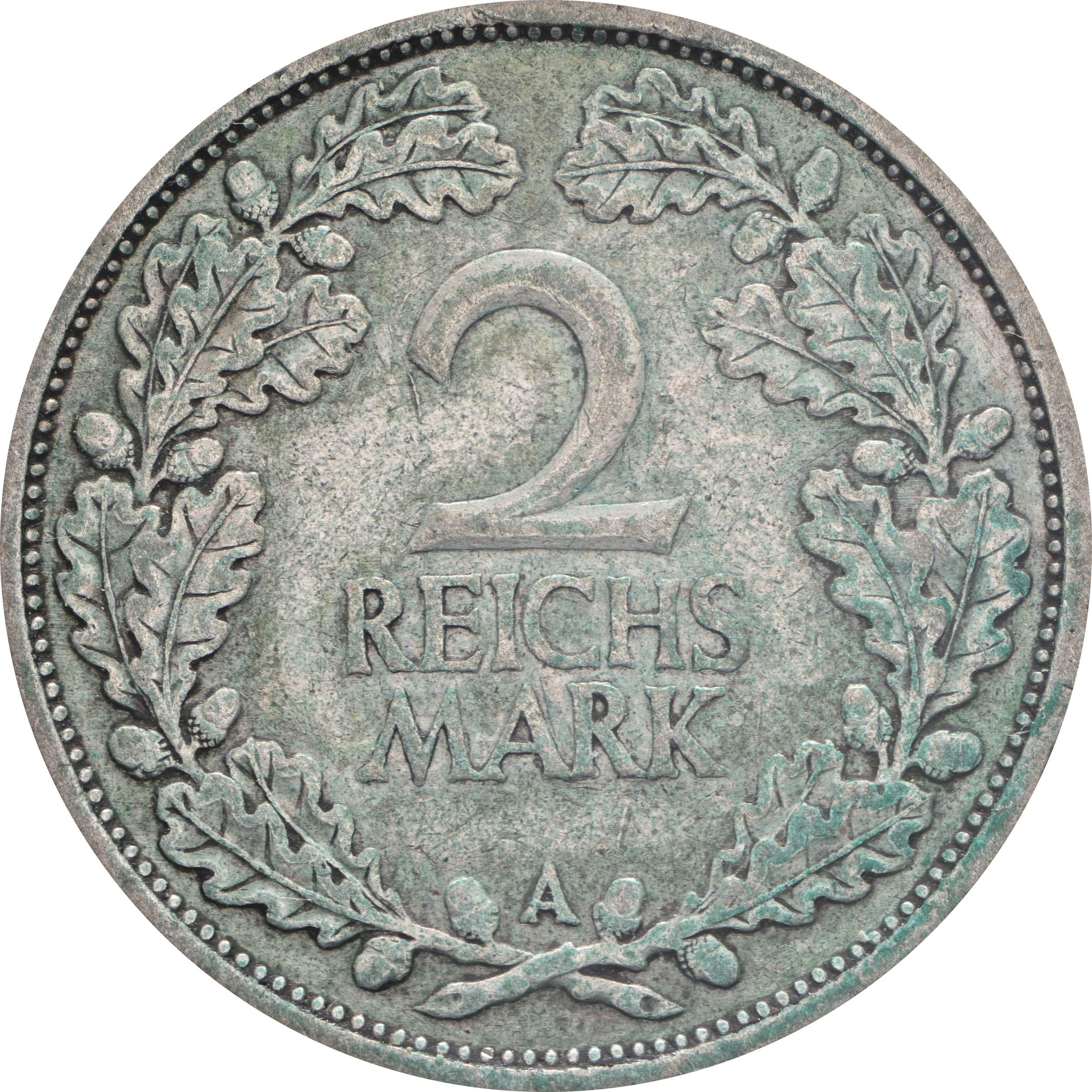 Vorderseite :Deutschland : 2 Reichsmark Kursmünze patina 1926 ss.