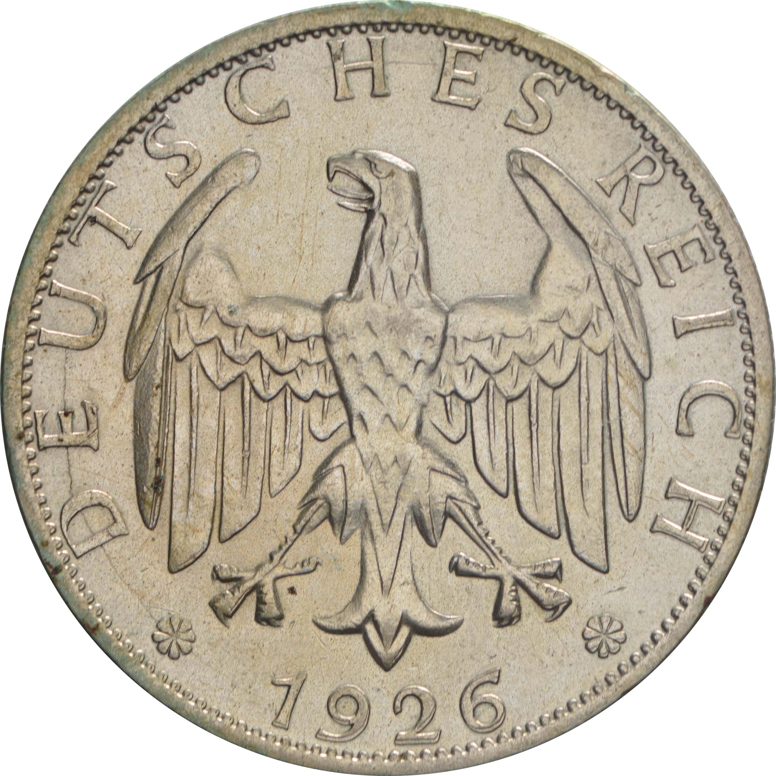 Rückseite:Deutschland : 2 Reichsmark Kursmünze  1926 ss/vz.