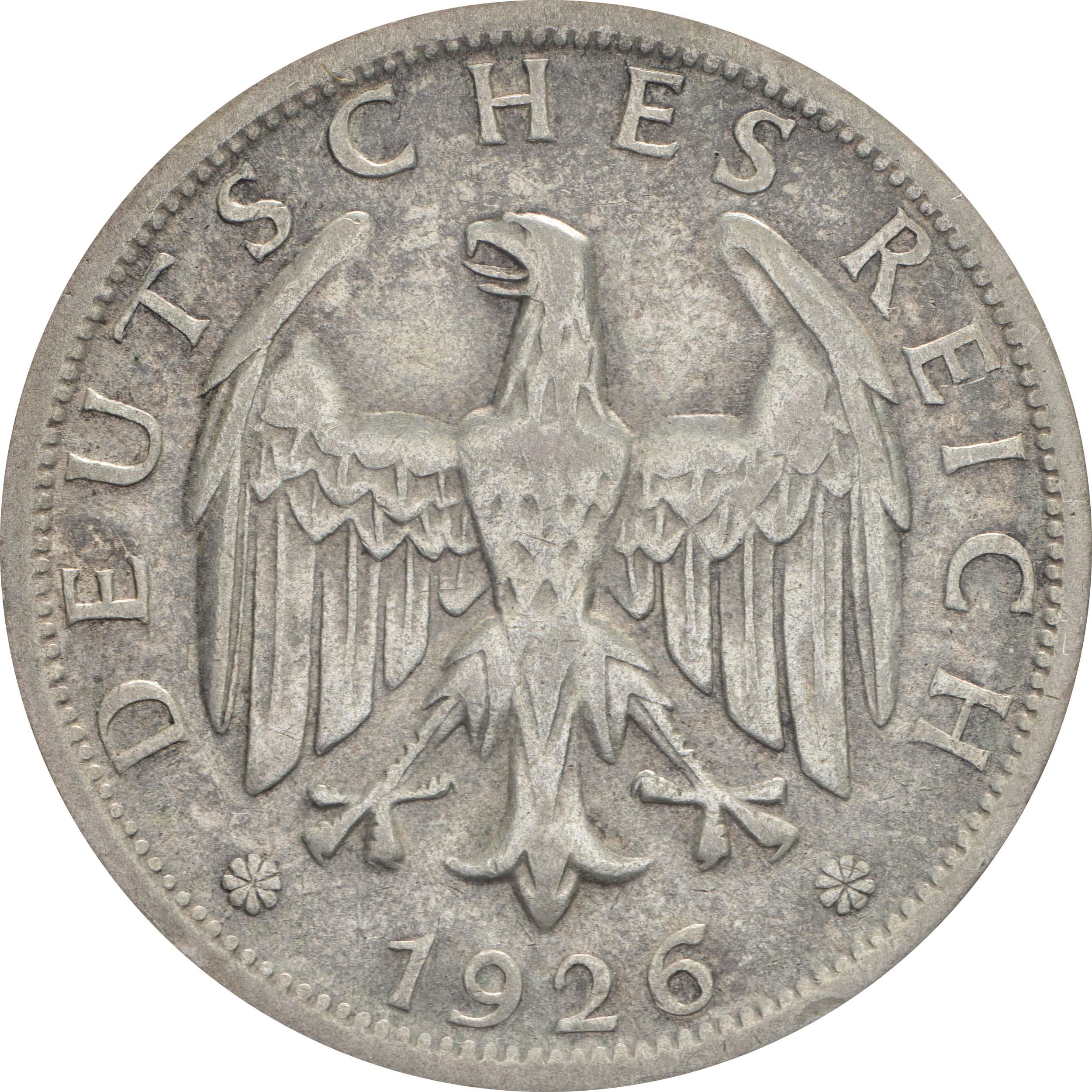 Rückseite :Deutschland : 2 Reichsmark Kursmünze  1926 ss/vz.