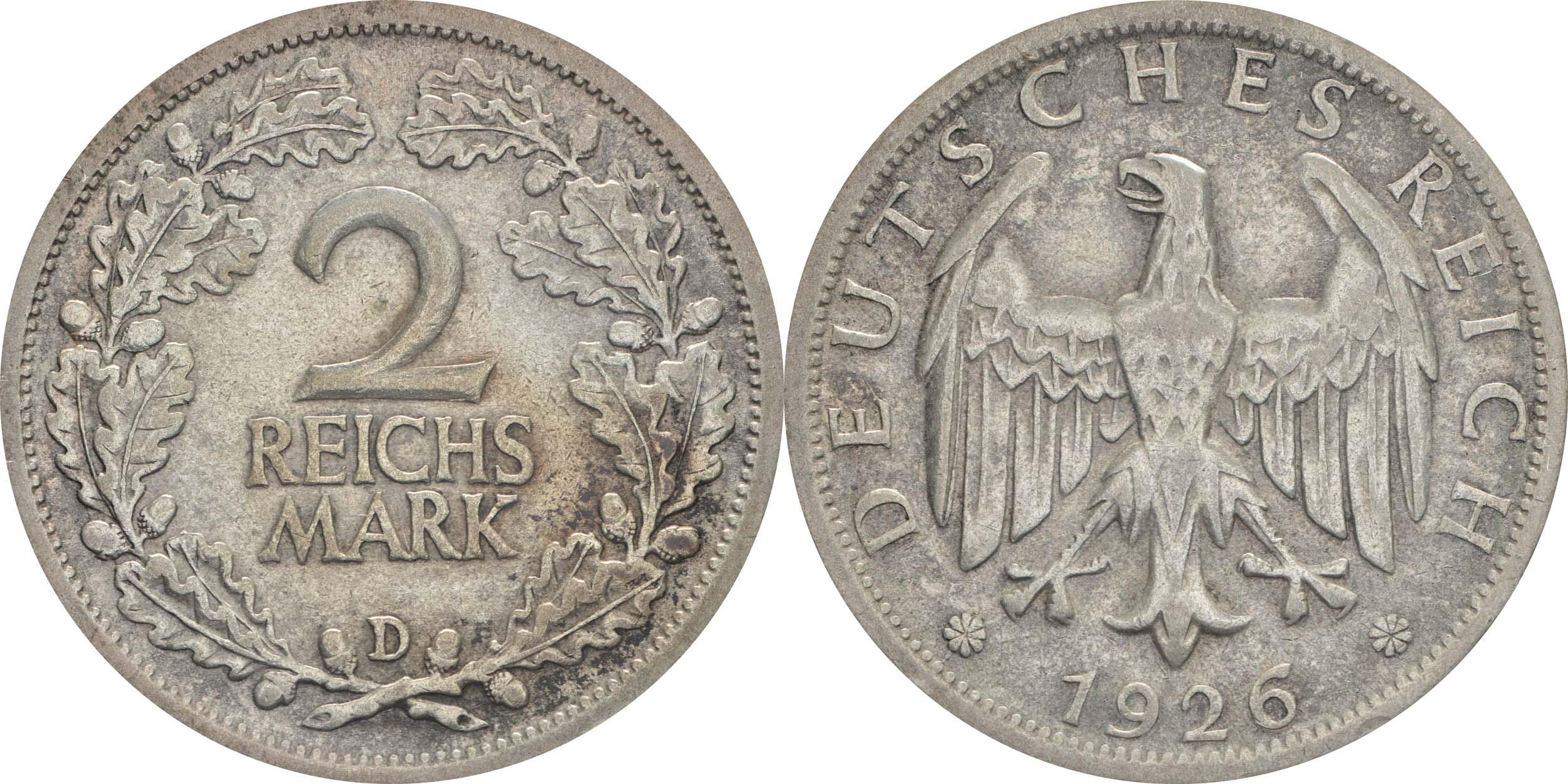 Deutschland : 2 Reichsmark Kursmünze  1926 ss/vz.