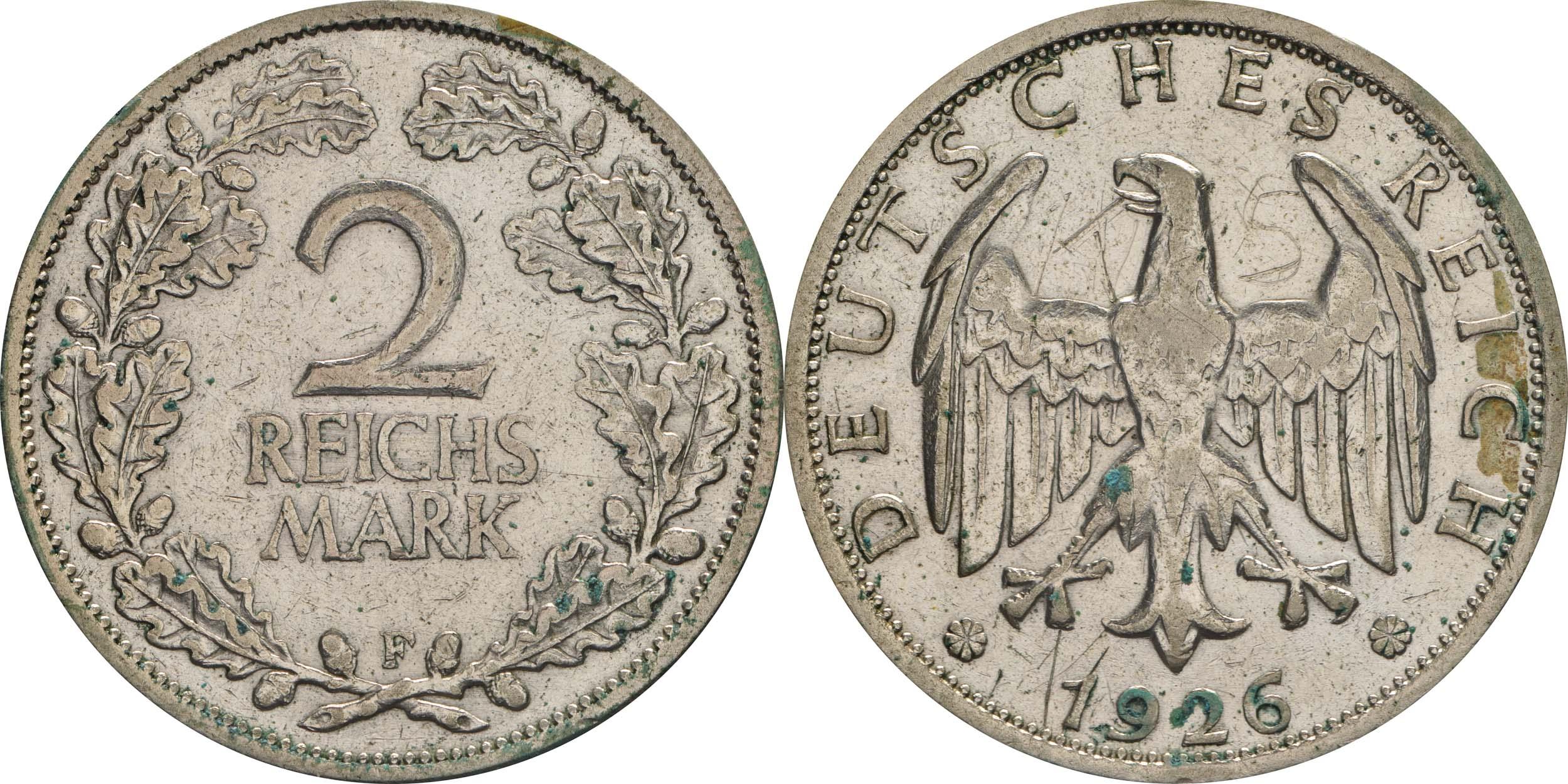 Deutschland : 2 Reichsmark Kursmünze  1926 ss.
