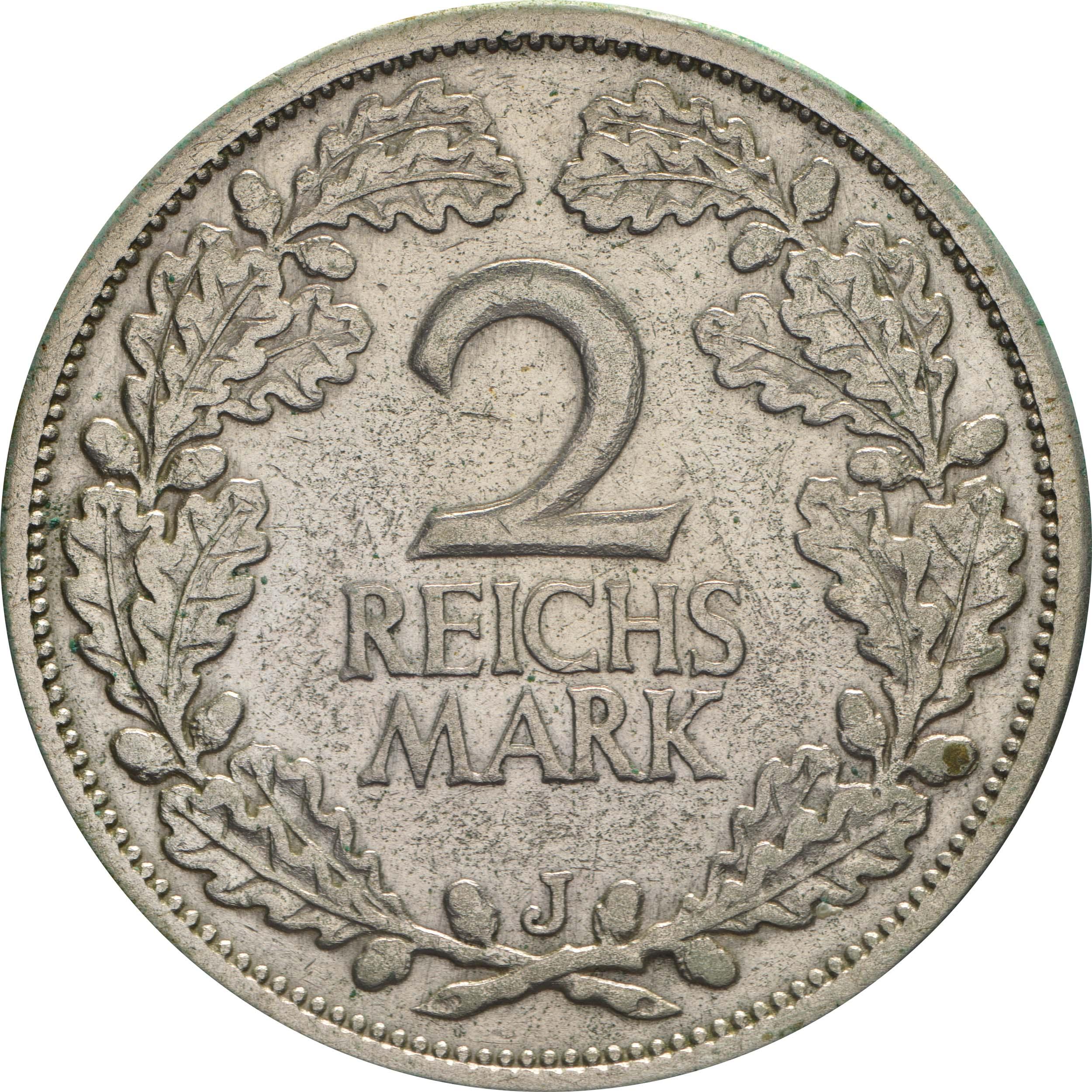 Vorderseite:Deutschland : 2 Reichsmark Kursmünze  1926 ss.