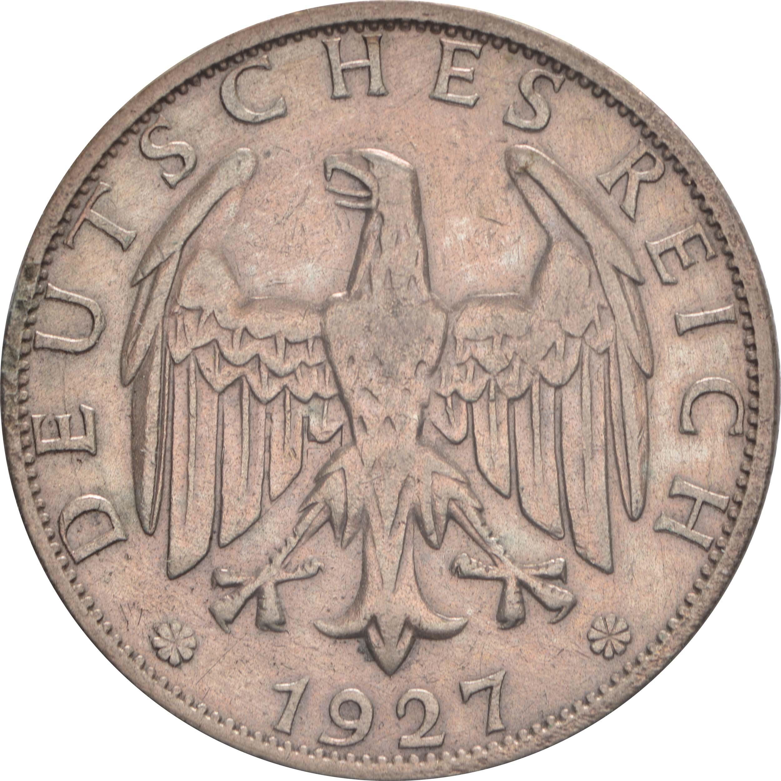 Bild der Rückseite :Deutschland - 2 Reichsmark Kursmünze  1927 ss.