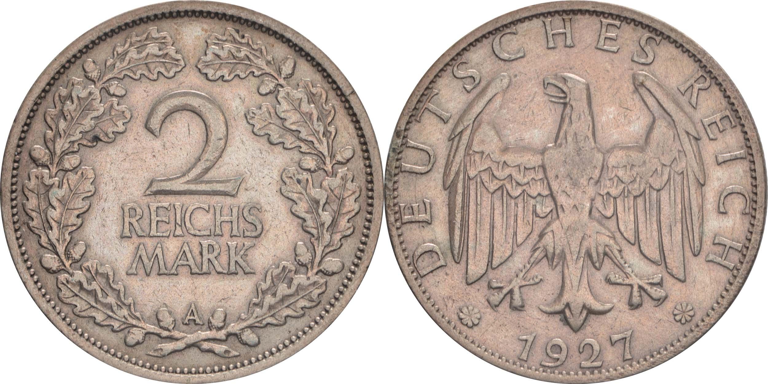 Bild des Lieferumfangs :Deutschland - 2 Reichsmark Kursmünze  1927 ss.