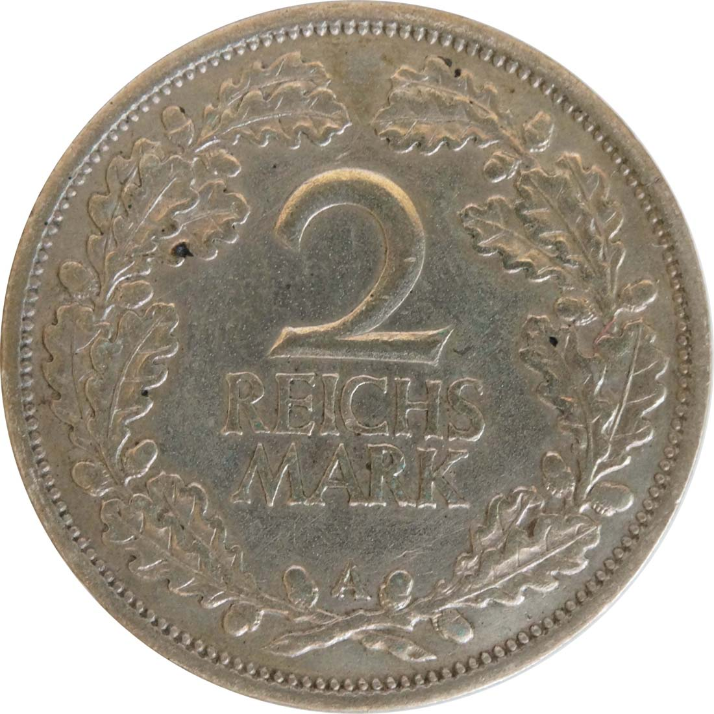 Bild der Vorderseite :Deutschland - 2 Reichsmark Kursmünze  1927 ss.
