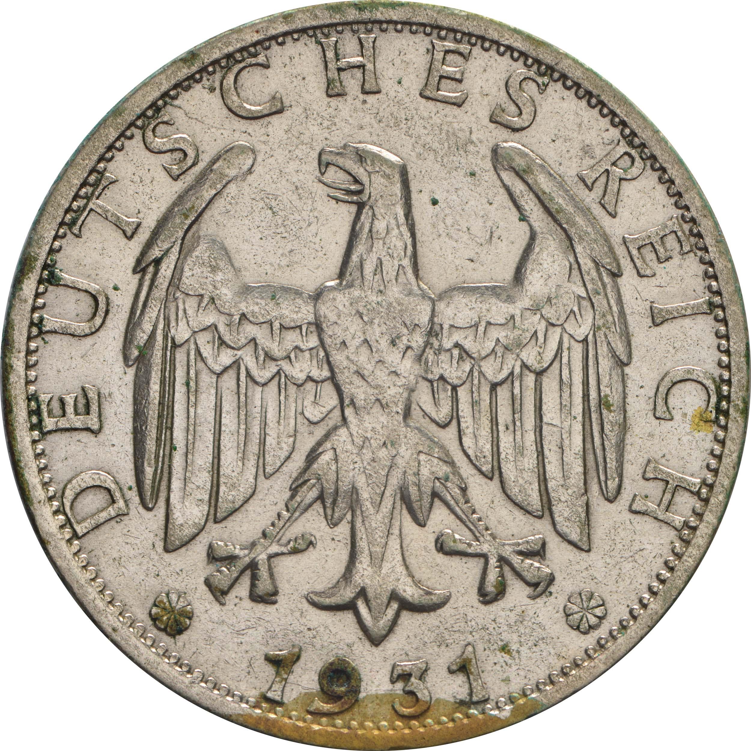 Rückseite:Deutschland : 2 Reichsmark Kursmünze  1931 ss.