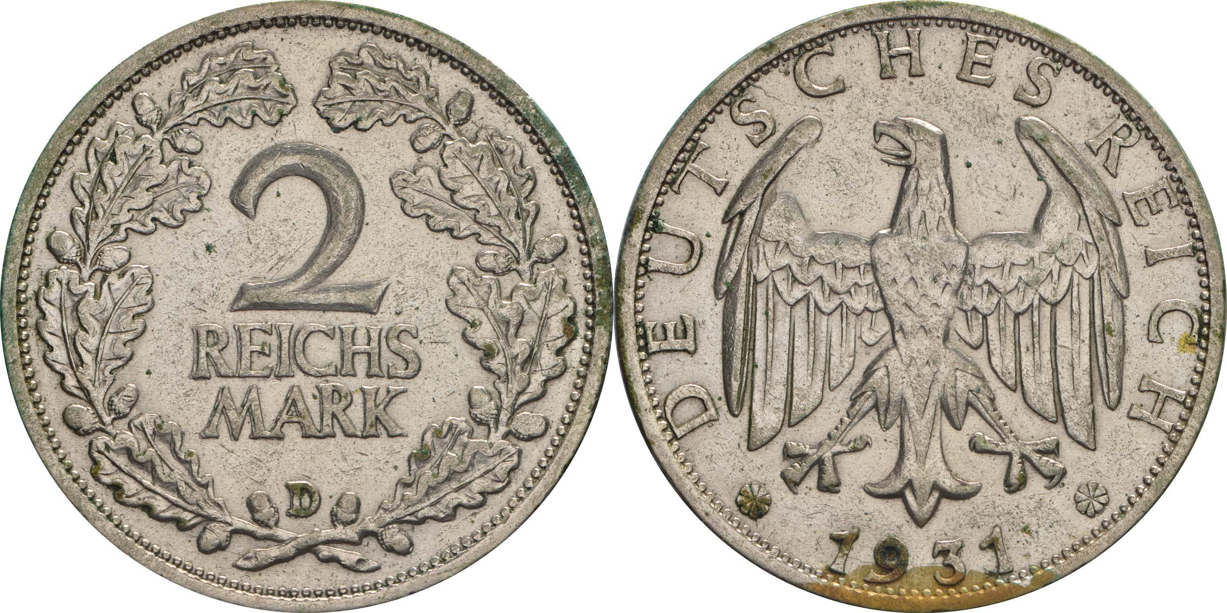 Übersicht:Deutschland : 2 Reichsmark Kursmünze  1931 ss.