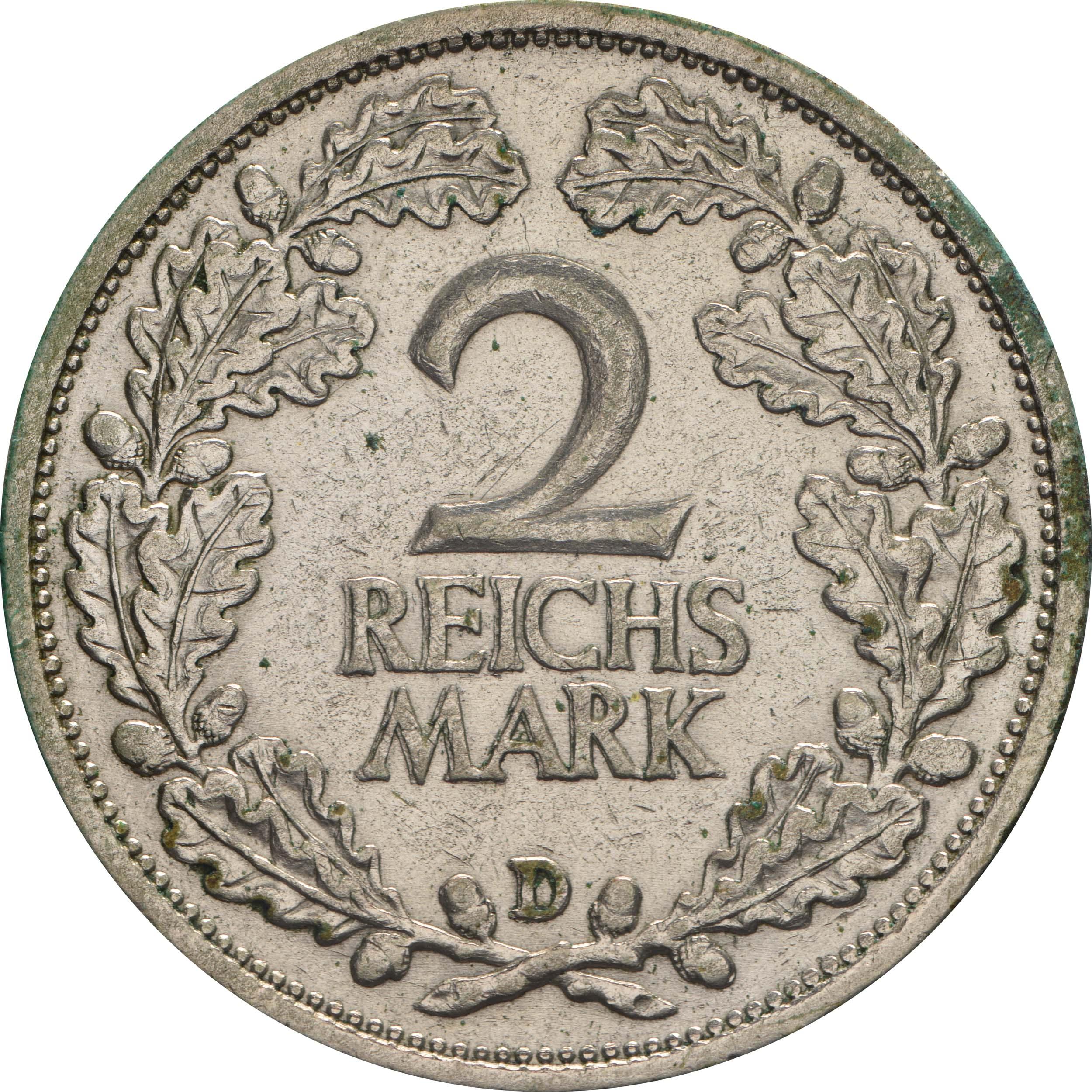 Vorderseite:Deutschland : 2 Reichsmark Kursmünze  1931 ss.