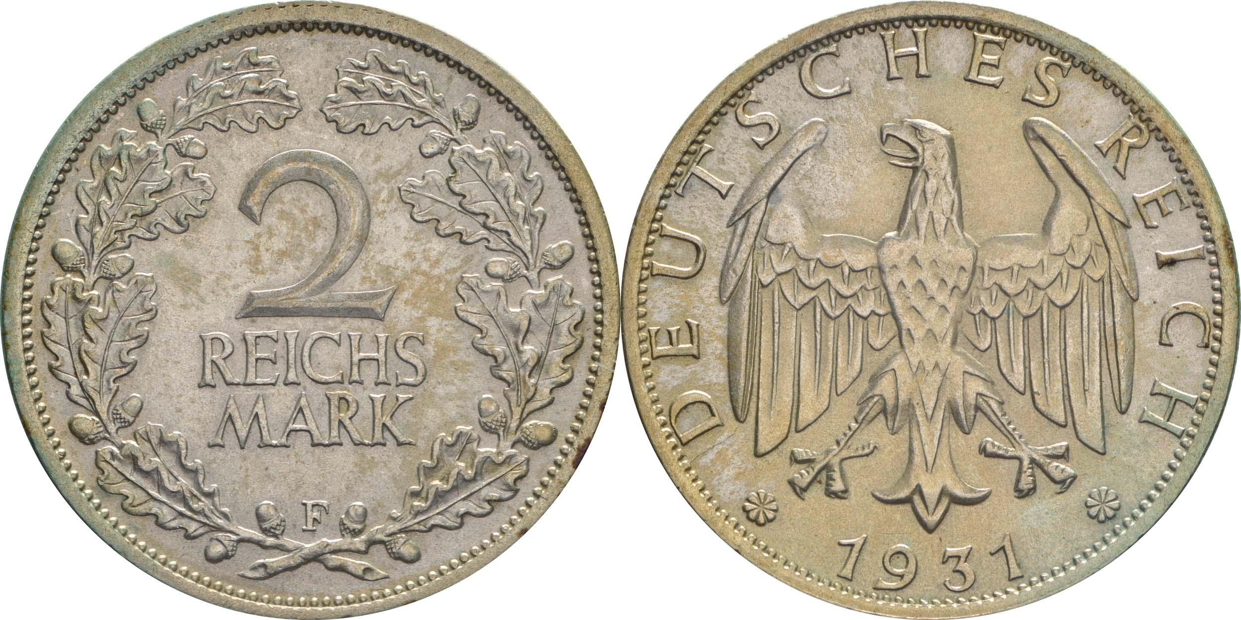 Übersicht:Deutschland : 2 Reichsmark Kursmünze  1931 vz/Stgl.