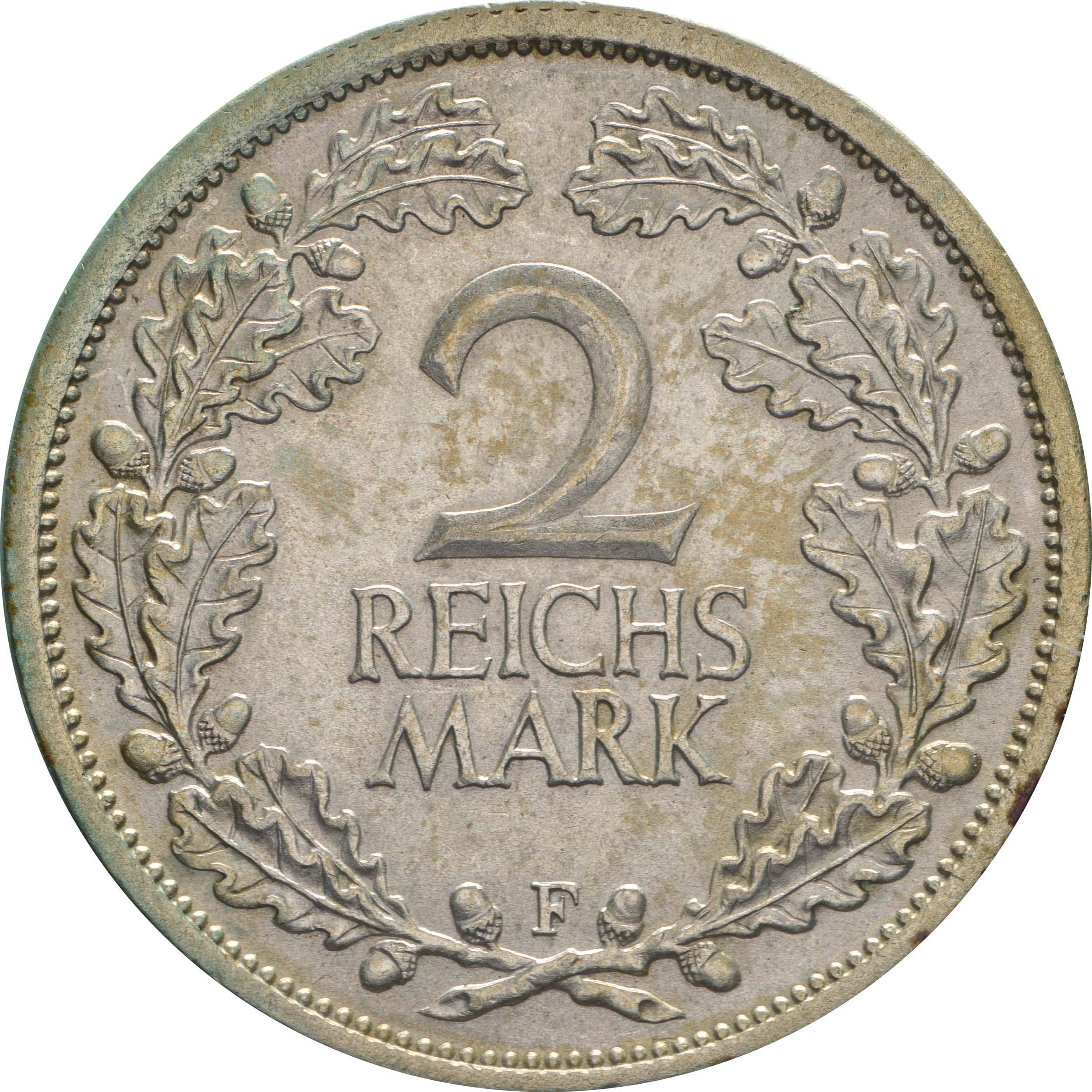 Vorderseite:Deutschland : 2 Reichsmark Kursmünze  1931 vz/Stgl.