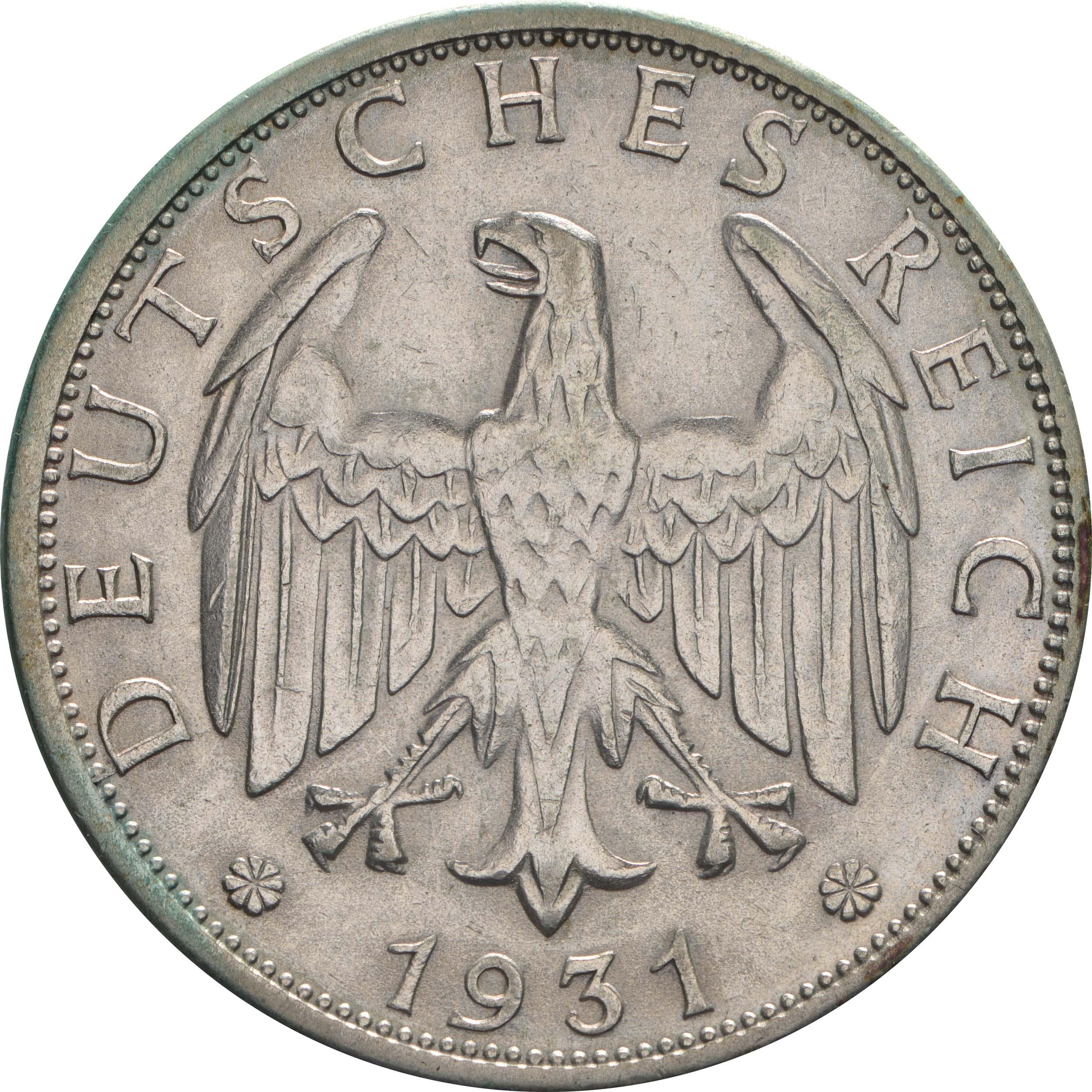 Rückseite:Deutschland : 2 Reichsmark Kursmünze  1931 vz.