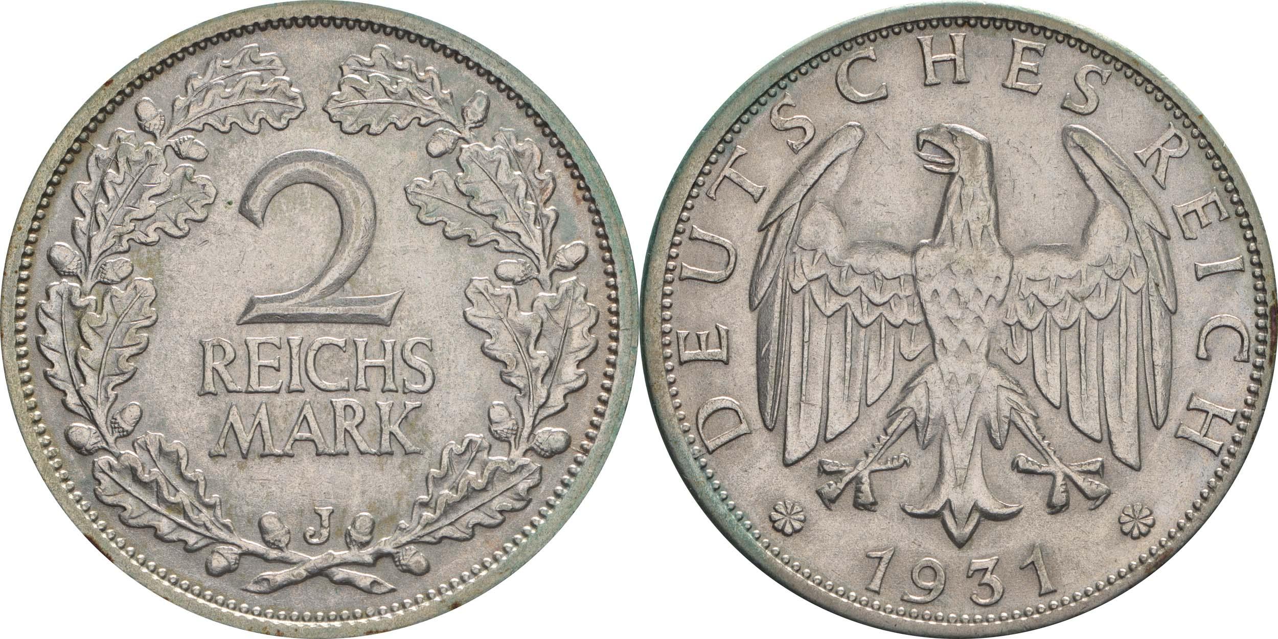 Übersicht:Deutschland : 2 Reichsmark Kursmünze  1931 vz.