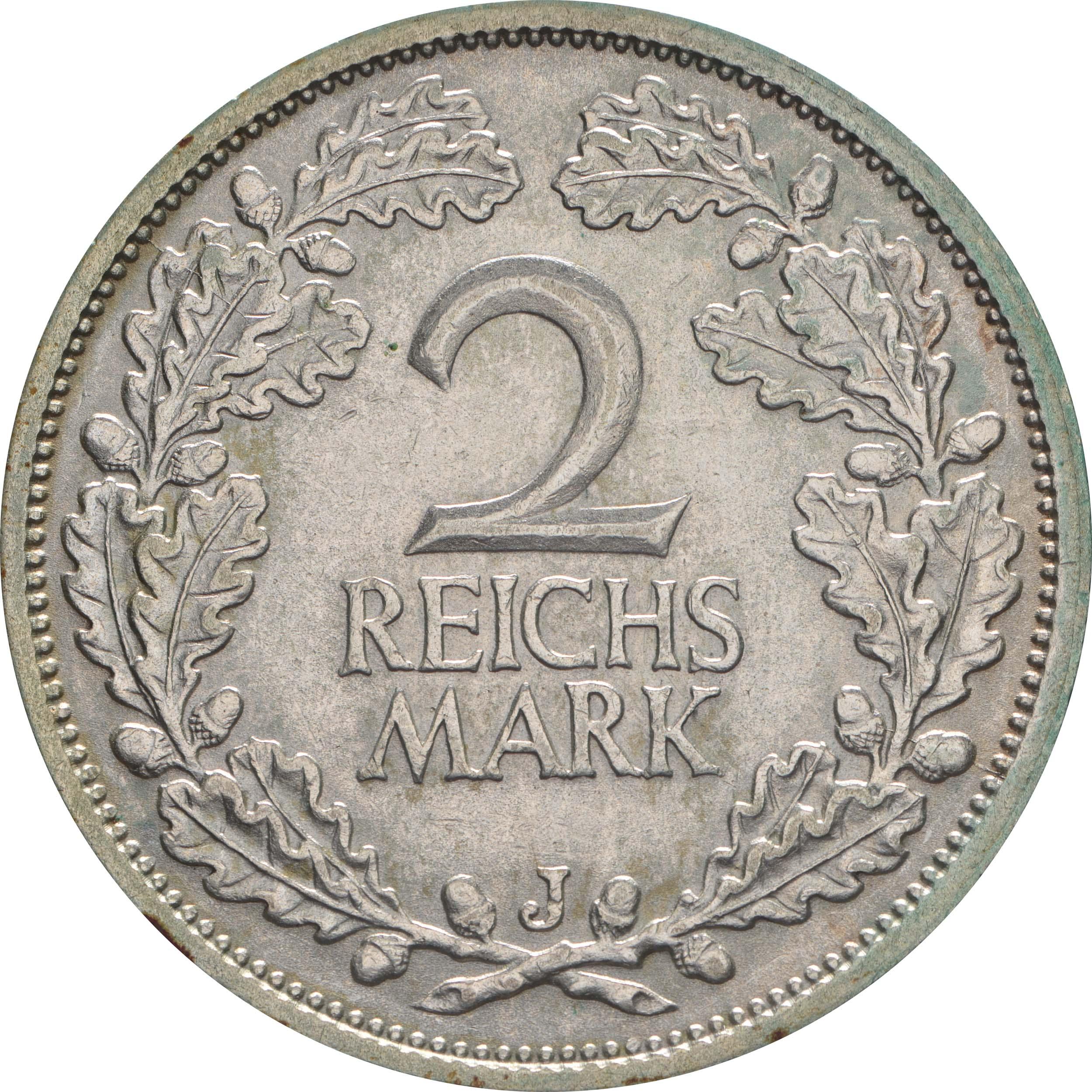 Vorderseite:Deutschland : 2 Reichsmark Kursmünze  1931 vz.