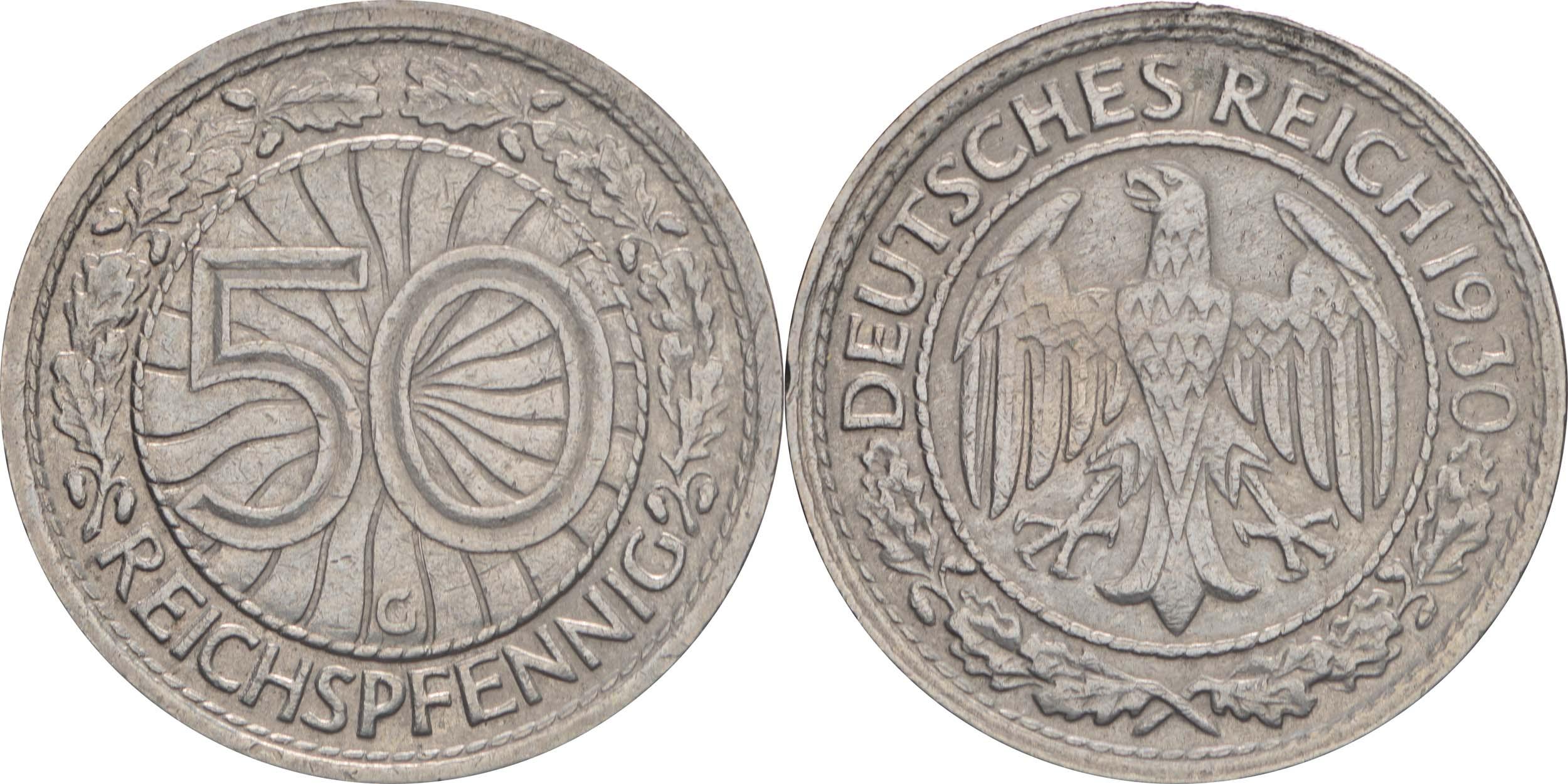 Deutschland : 50 Reichspfennig Kursmünze  1930 vz.