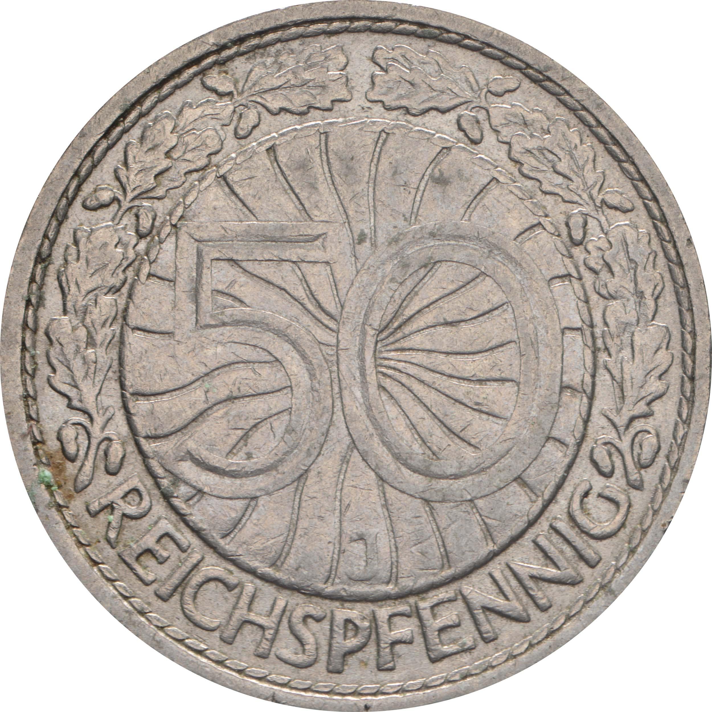Vorderseite :Deutschland : 50 Reichspfennig Kursmünze  1930 vz.